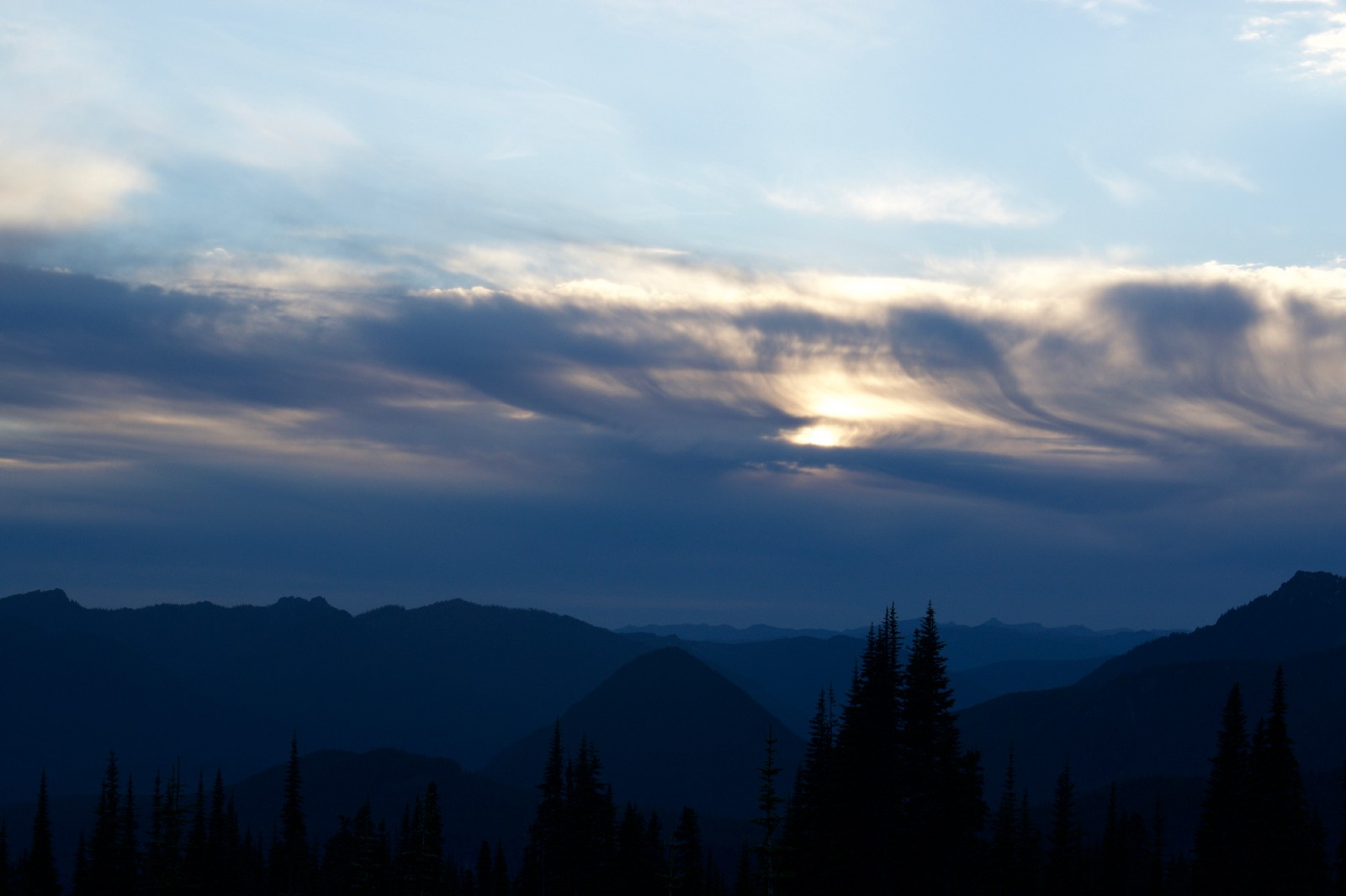 Mountains as far as the eye can see. Mt. Rainier National Park, Washington.