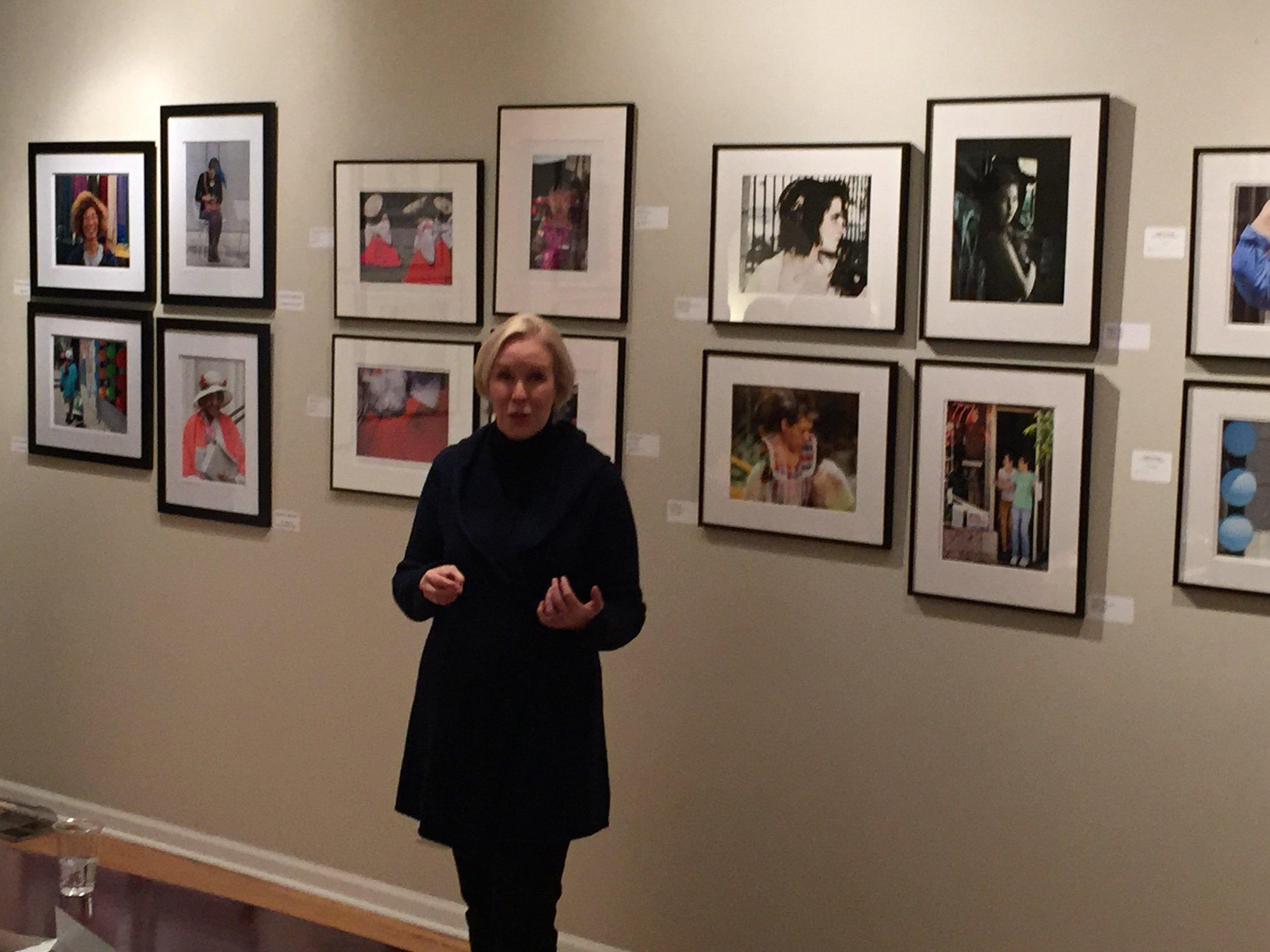 Juror Susan Aurinko speaks about the exhibit