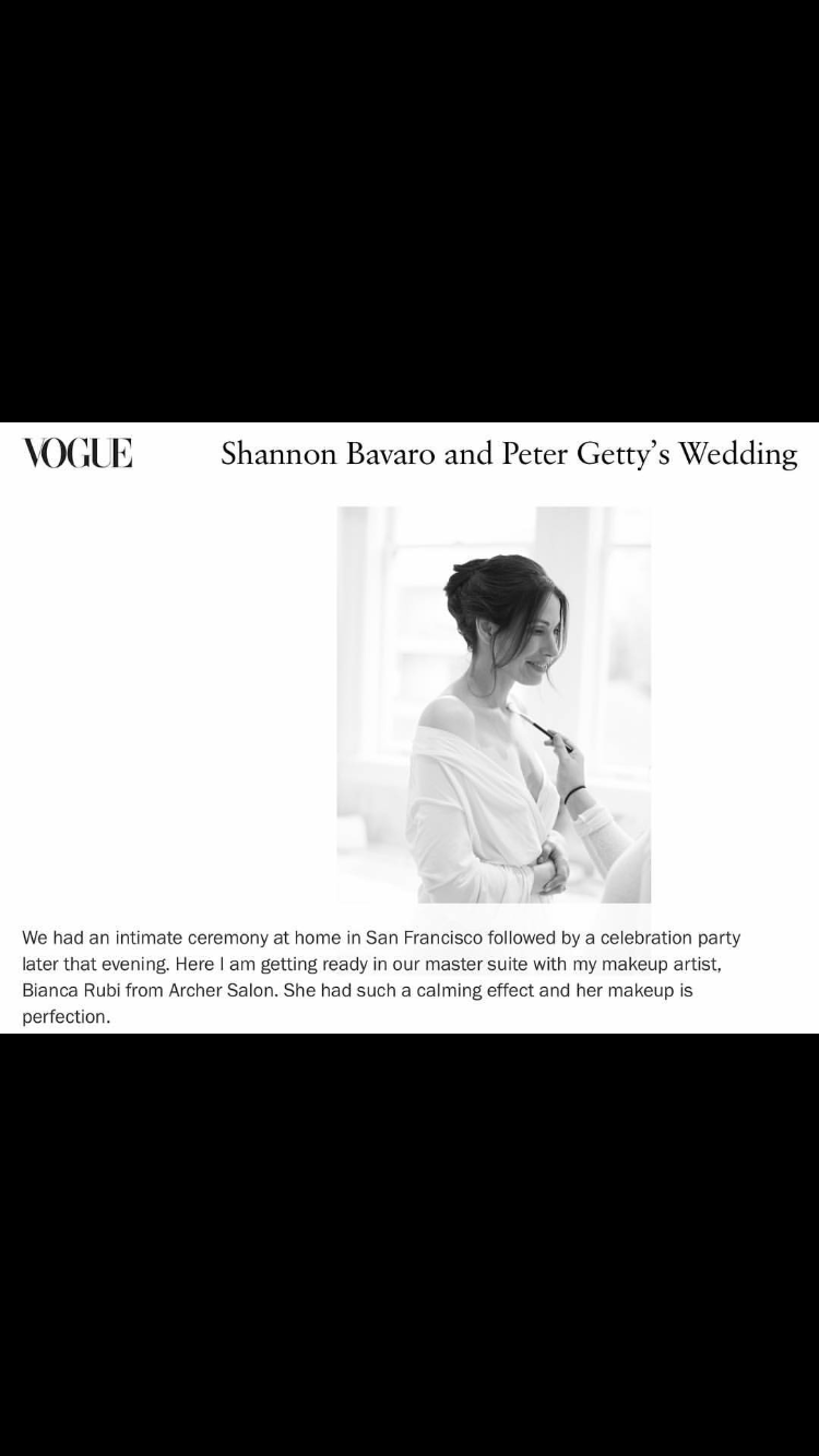 Bianca is mentioned in Vogue for her makeup for the Getty Bavaro wedding.