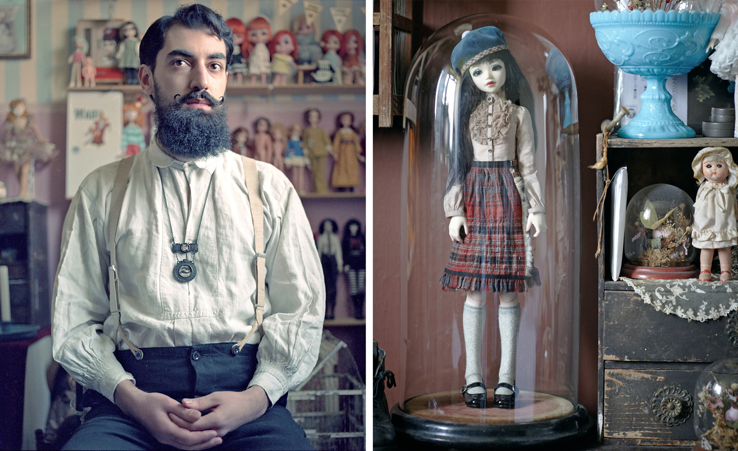 Collectors with their collections for BOAT Magazine London     Leonidas  Doll collector