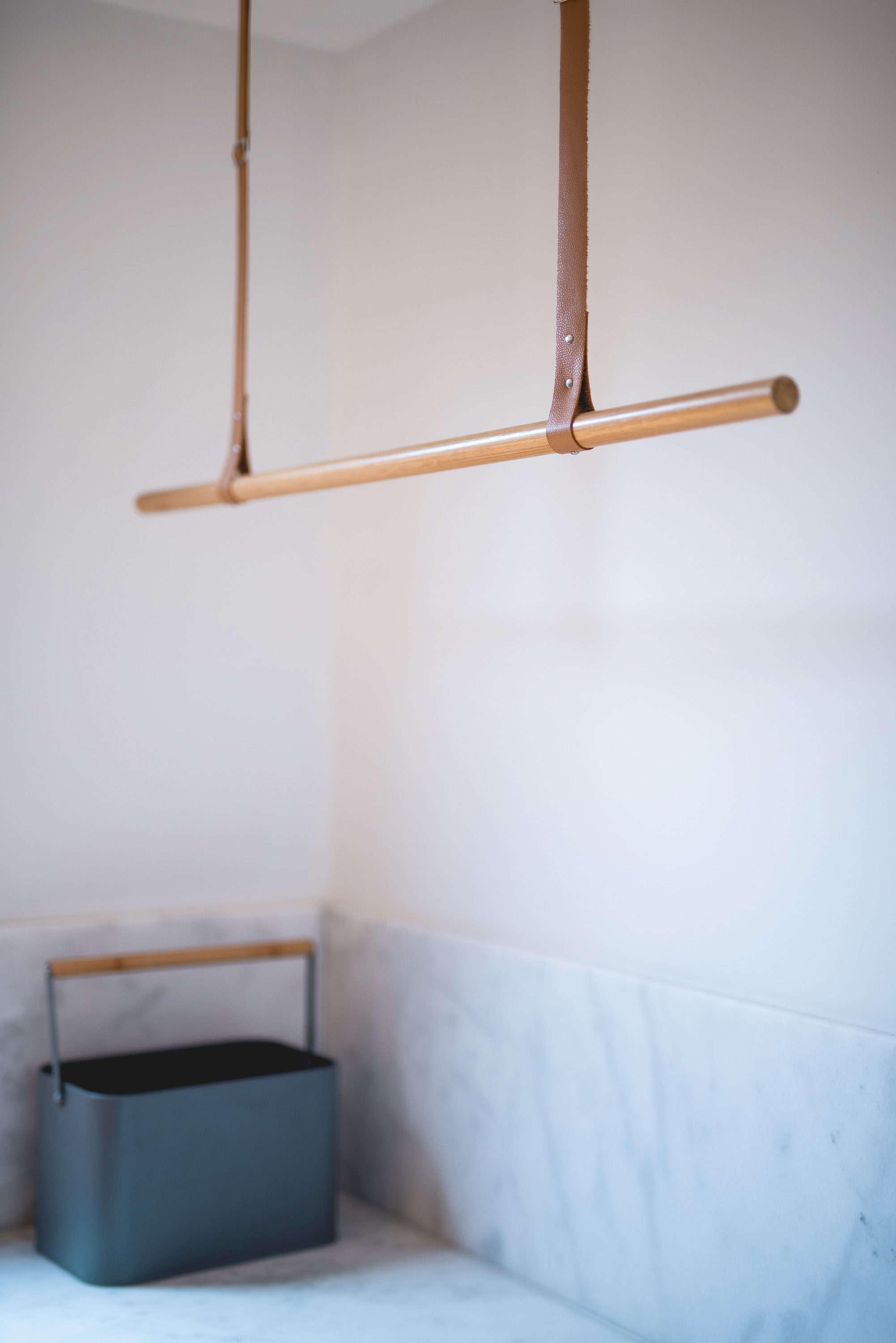 Timber, leather and marble laundry details...
