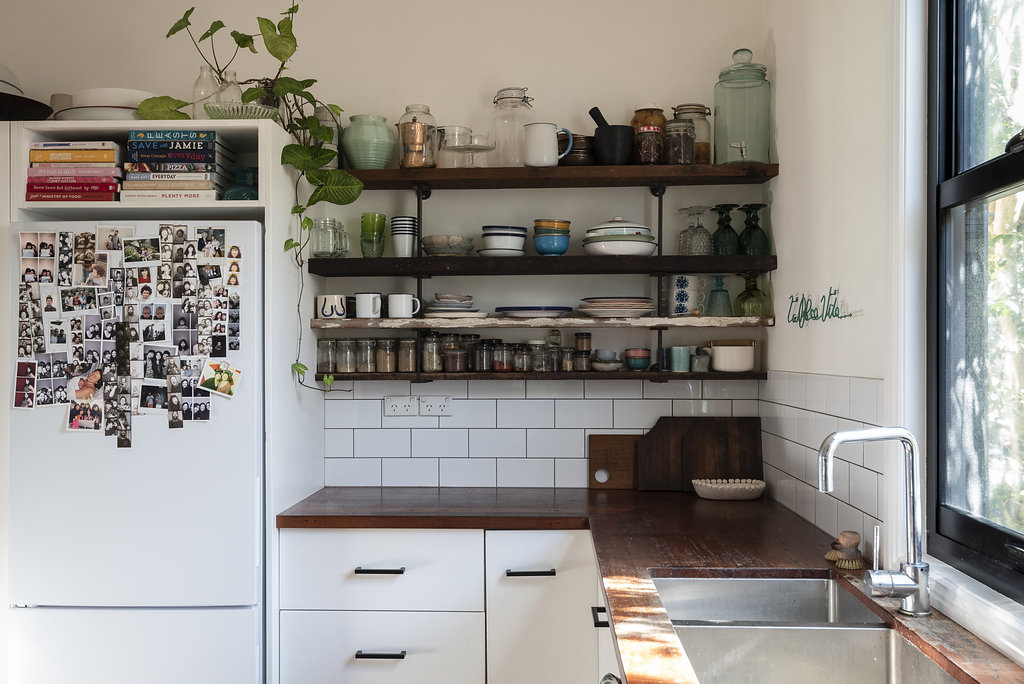 Recycled timber floors become kitchen shelving!