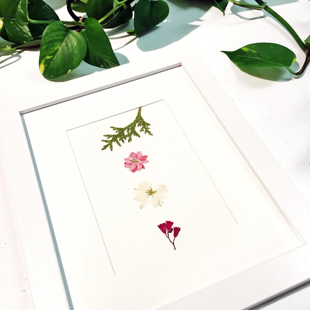 Pressed flower DIY craft project