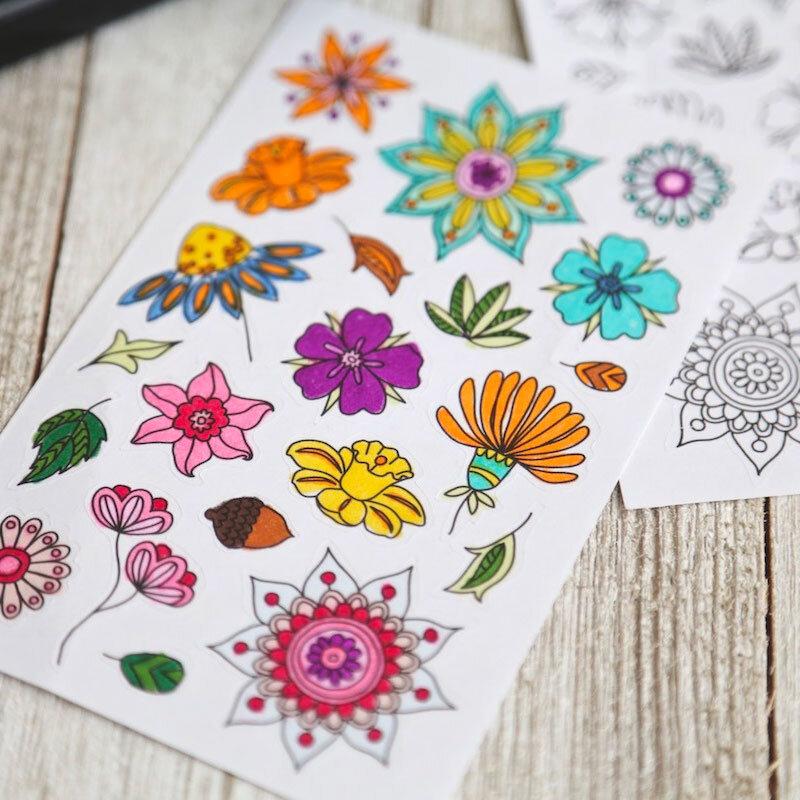 Flower Coloring Sticker Sheets (Set Of 2) — Sunshine Craft Co