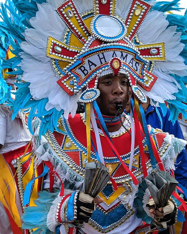 The Bahamas #Junkanoo Rush-out at #JazzFest50 was so cool. This troupe was a collaboration of some of the best artists currently performing, and really, really fun.