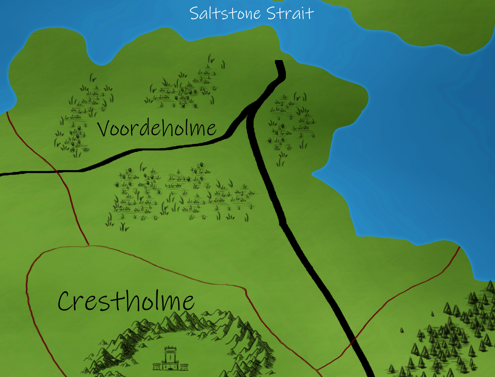 Voordeholme   The Northernmost duchy known for its warm weather and abundant agriculture.