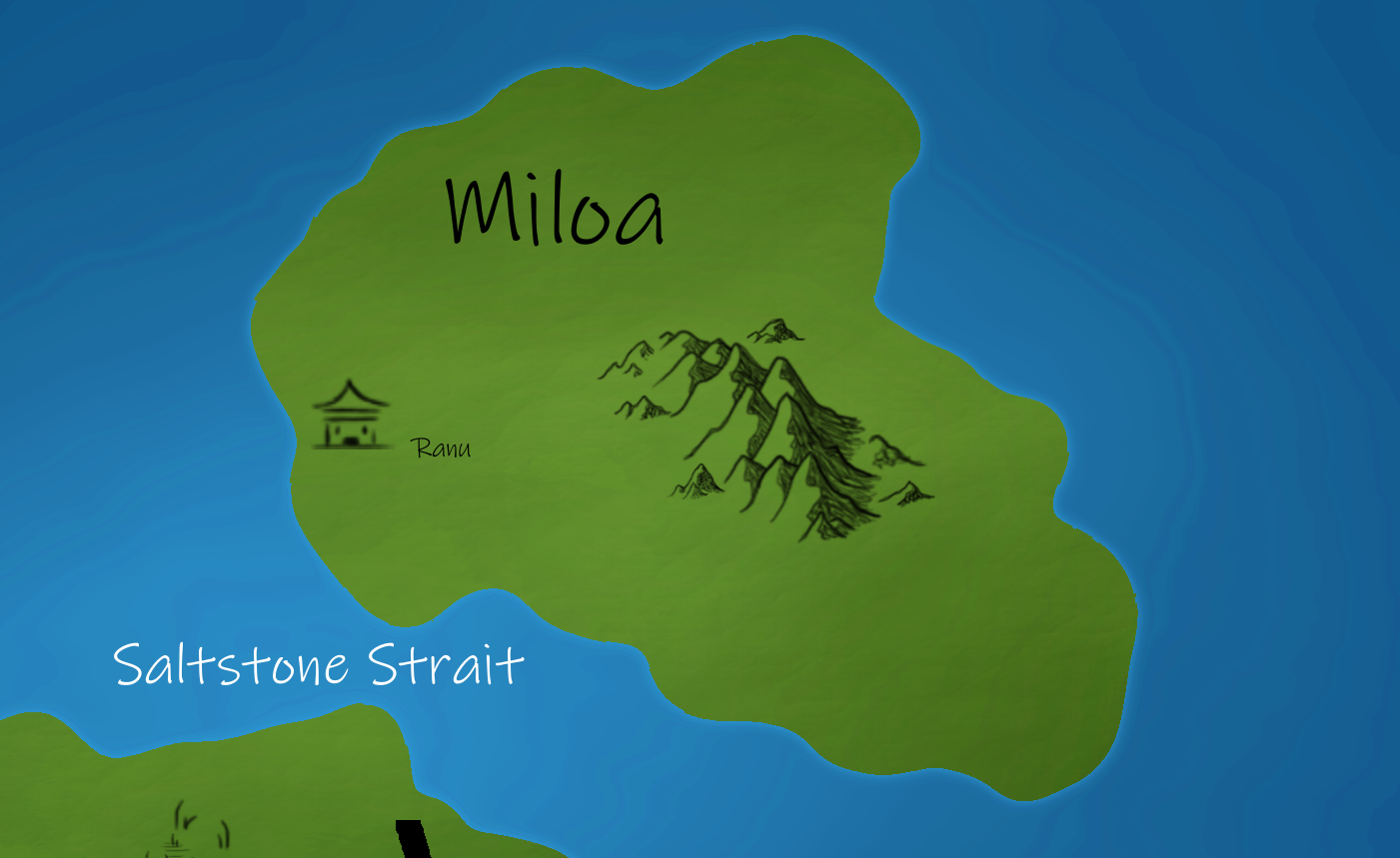 The Island of Miloa   Miloa is a large Island to the North which has become a Stradysh territory. Its affable people the Miloans are goat-kin.