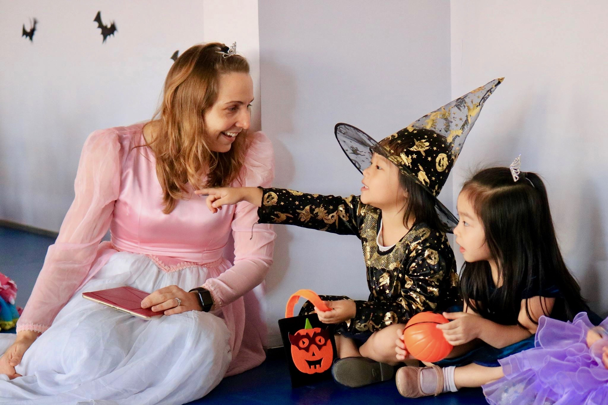 Mrs Danielle and some trick-or-treaters