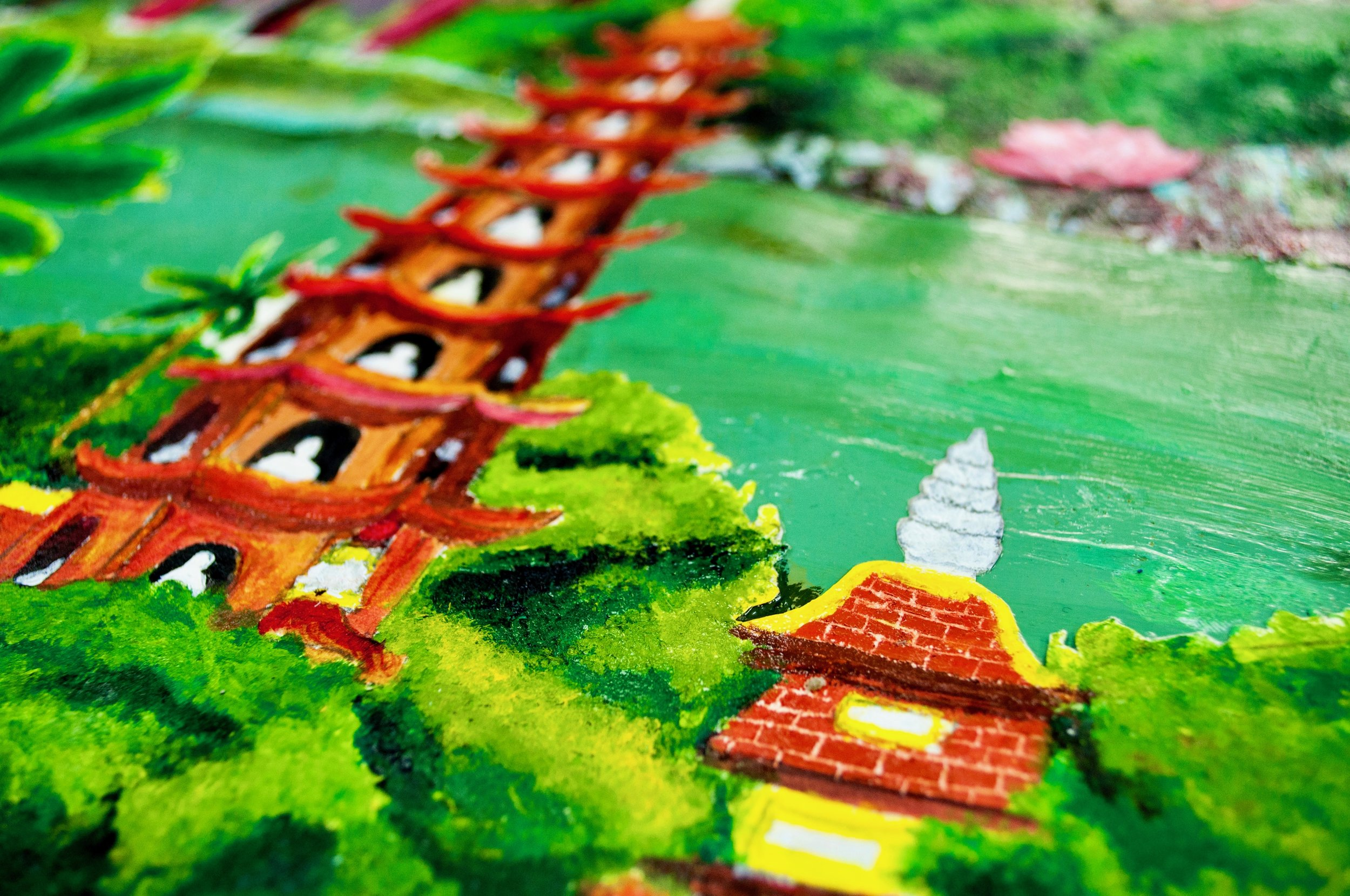 Detail of the painting, depicting Trấn Quốc Pagoda, Hanoi's oldest Buddhist temple.