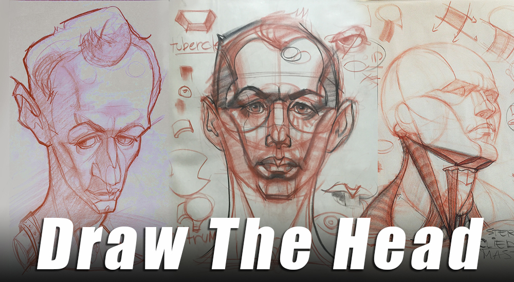 Complete head drawing tutorial - Covers the planes of the head and the features in detail