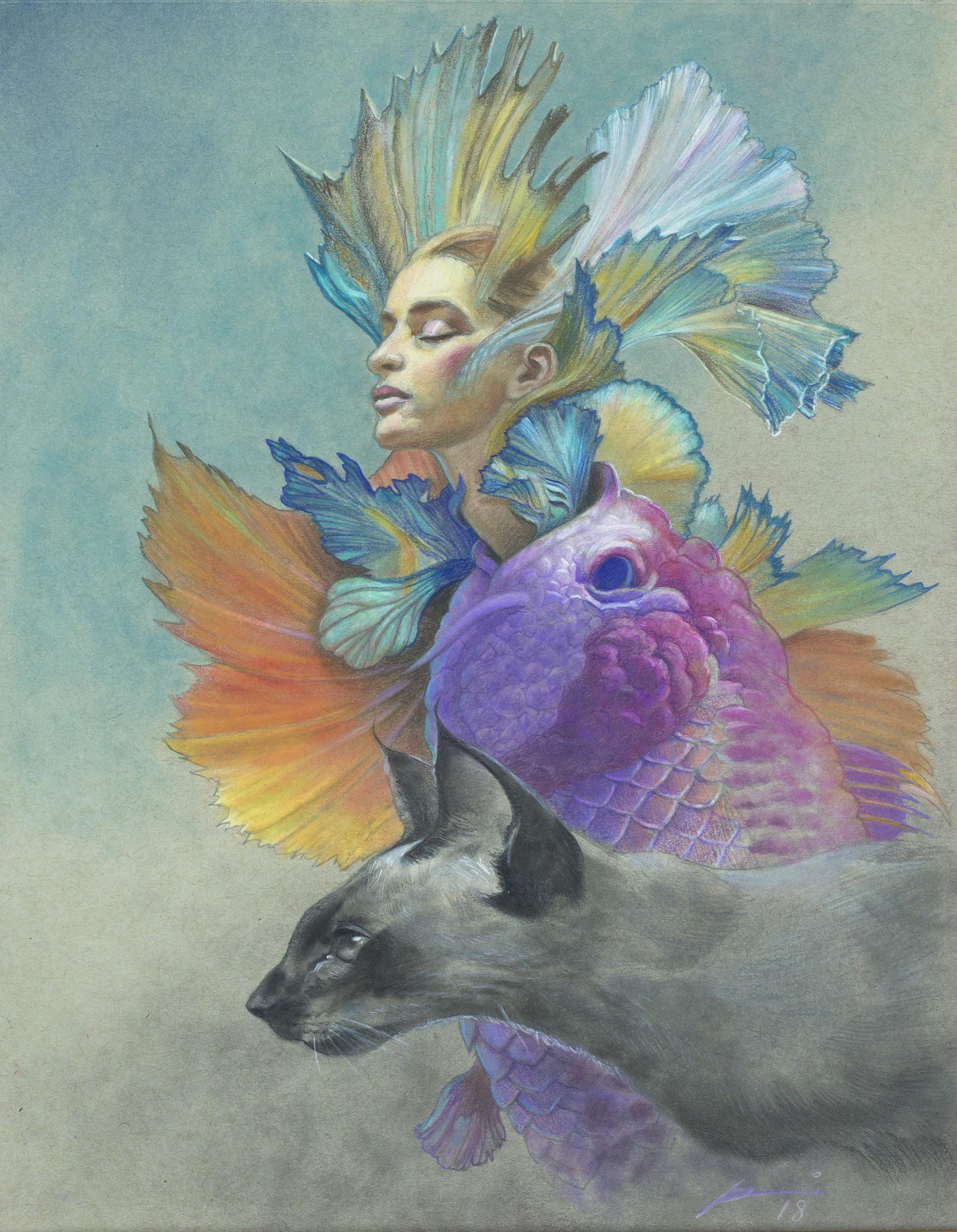 Girl Fish Cat / pastel, colored pencil