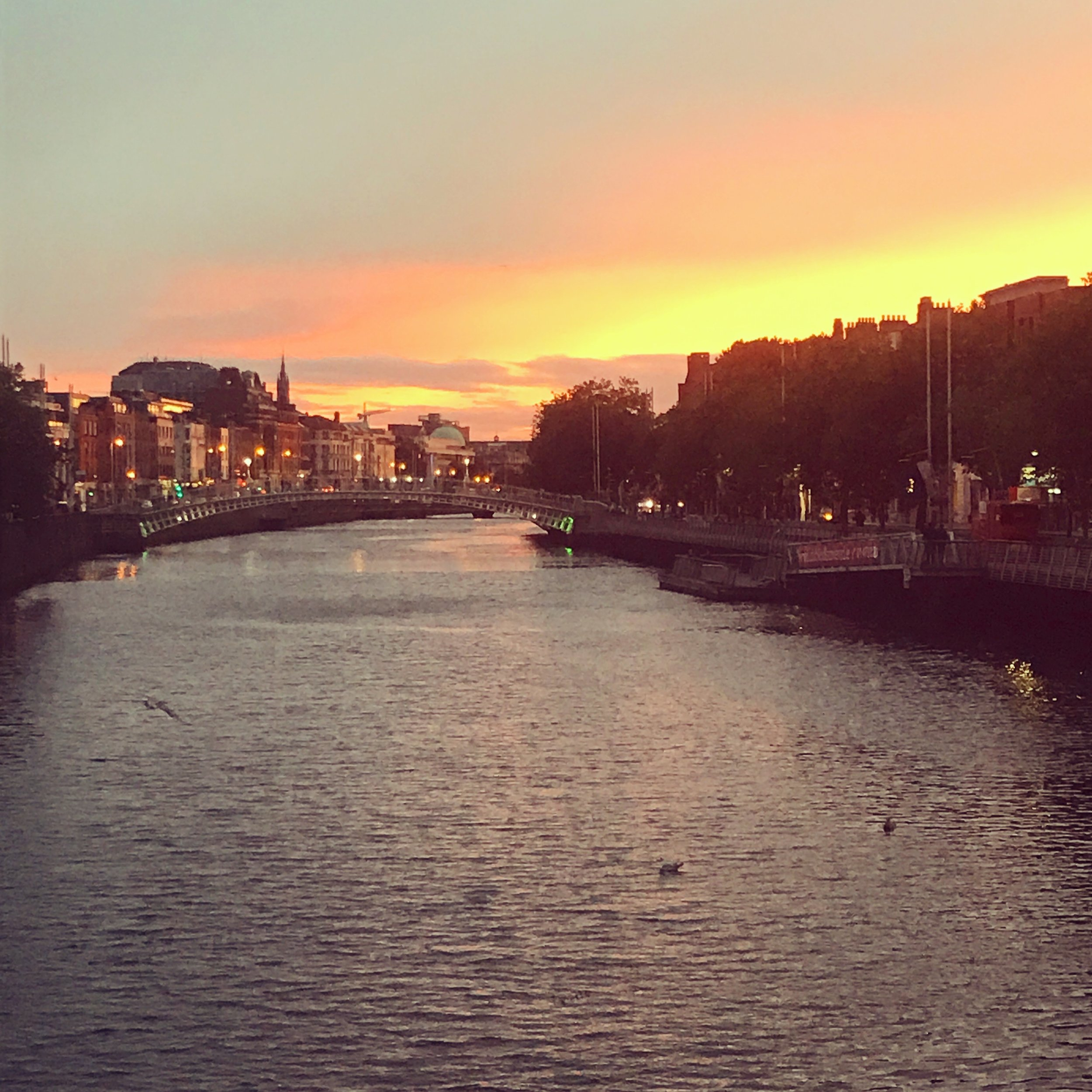 Sunset over the River Liffey in Dublin.