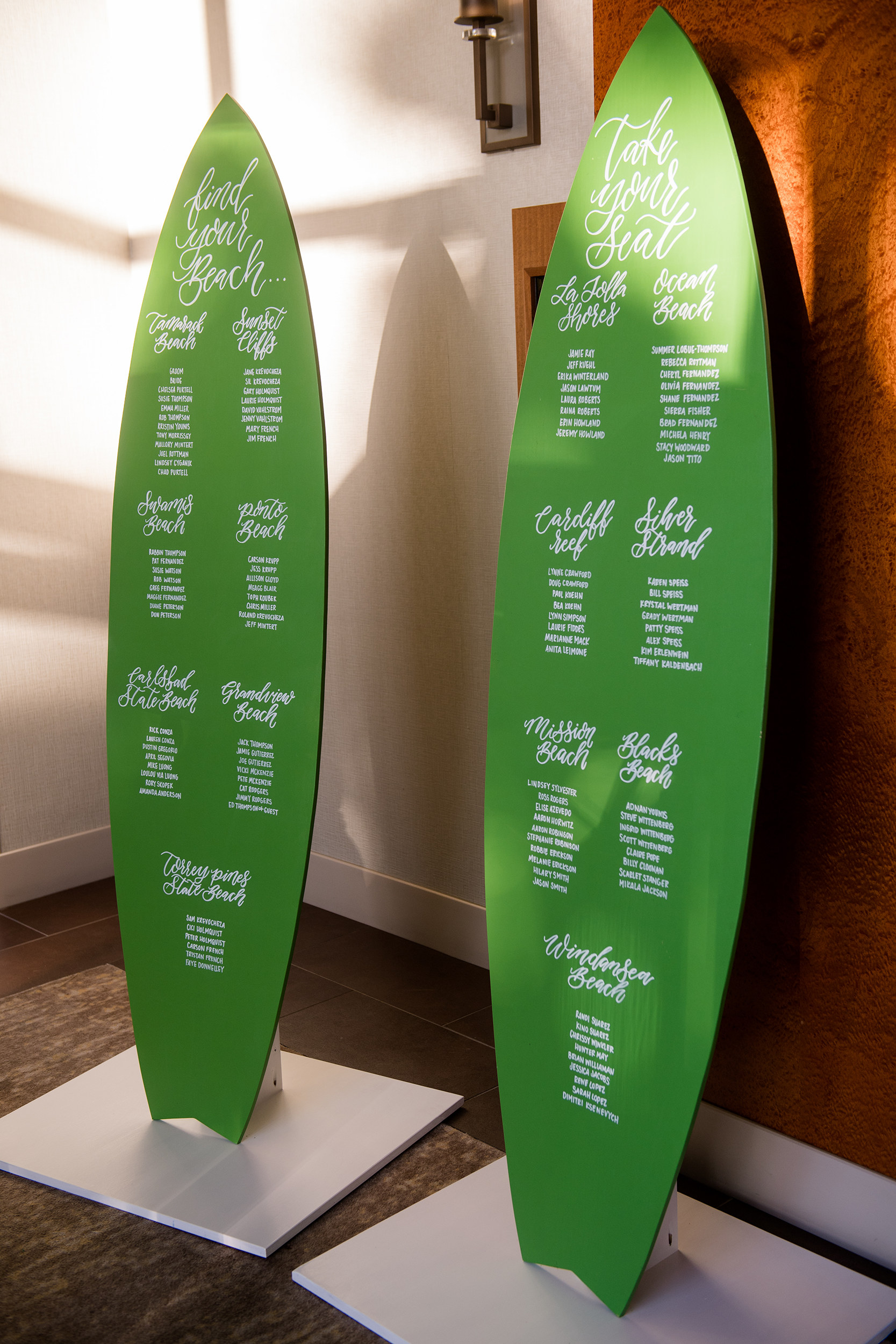 san diego wedding surf board seating chart