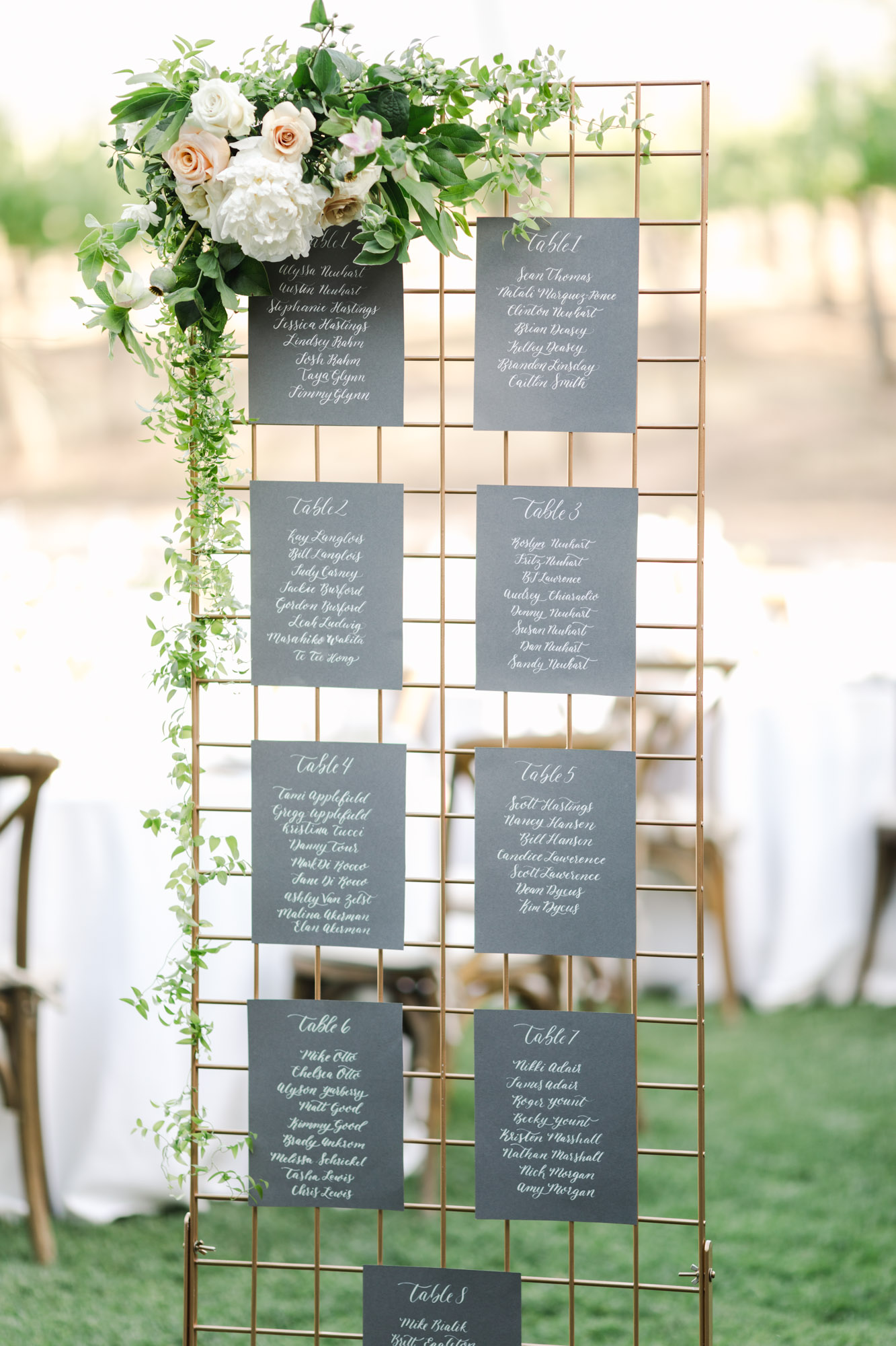 This is a gold grate seating chart rental, it is 2ft x 6ft and can be assembled to stand. this seating chart works best for guest counts under 100.