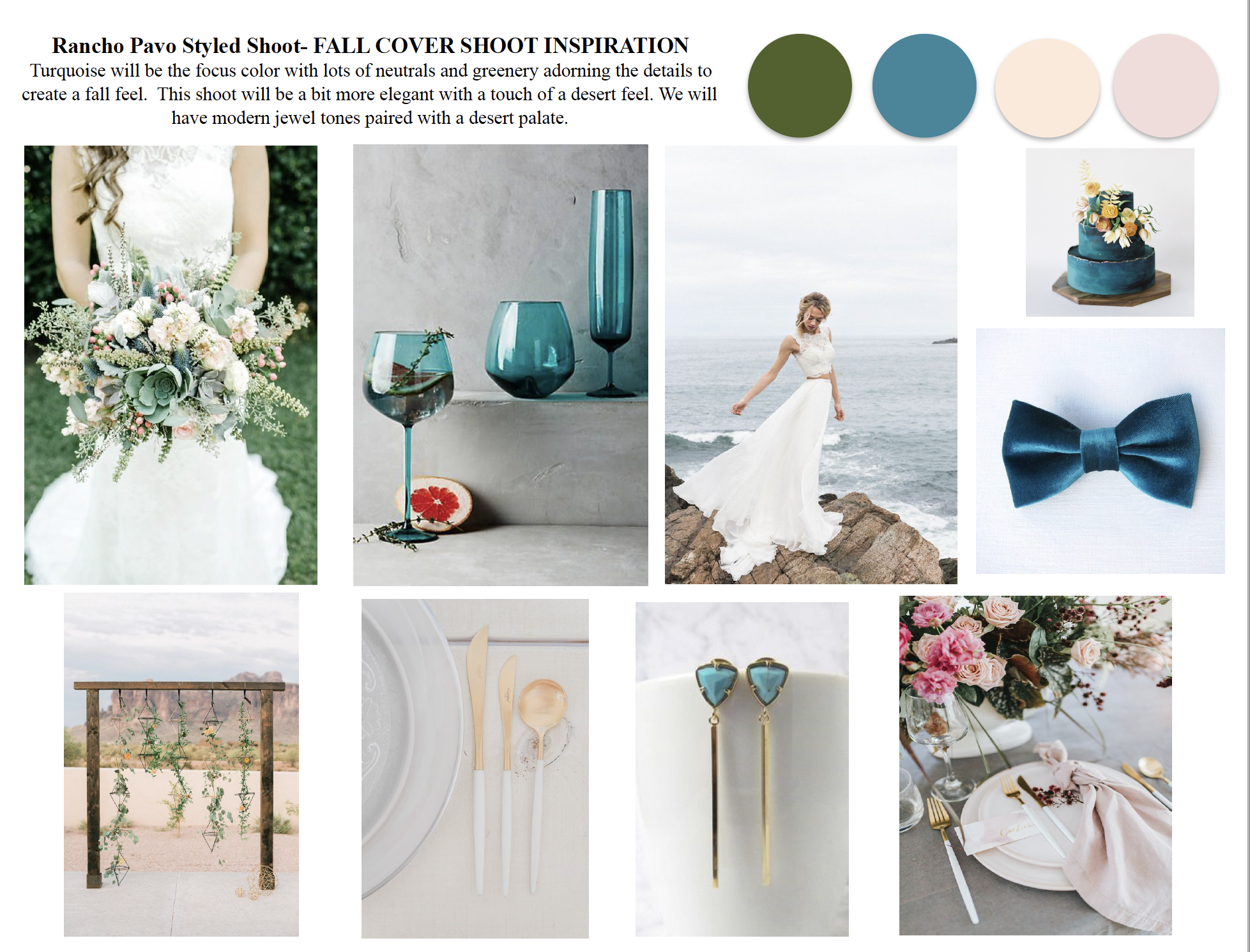 This is a mood board for a styled shoot I did recently created by  Sarah Bond  of Grace and Gold Events and she uses the  Styled Shoots Across America Template . The mood board is put together well with all elements being cohesive.