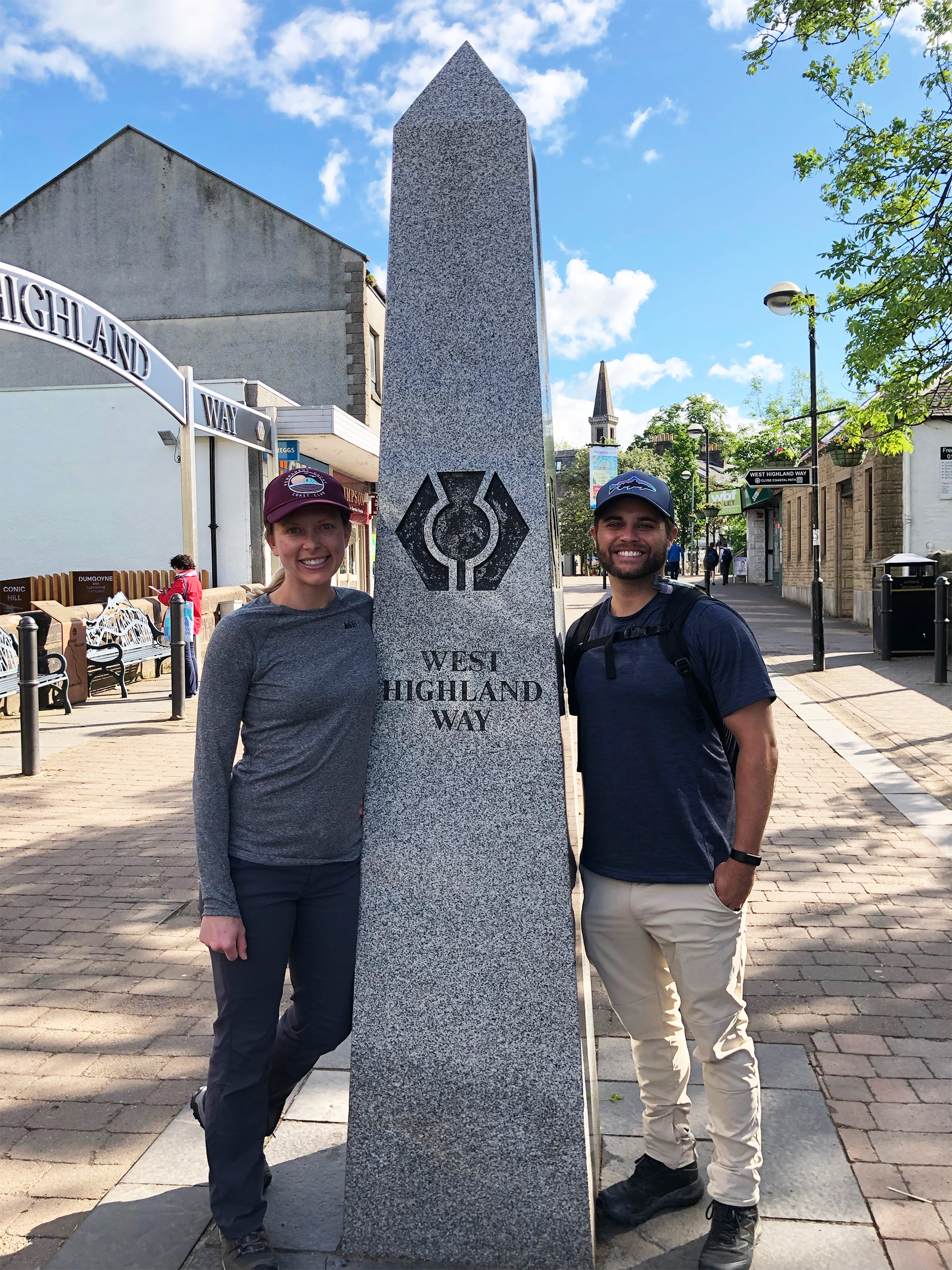 At the start of the West Highland Way in the middle of the quant little town of Milngavie.