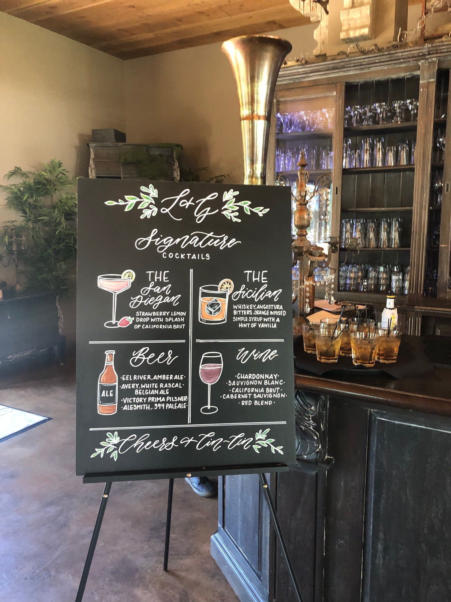 "Chalkboard rental 24""x32"" — 2 signature cocktails + beer +Wine Starts at $150"