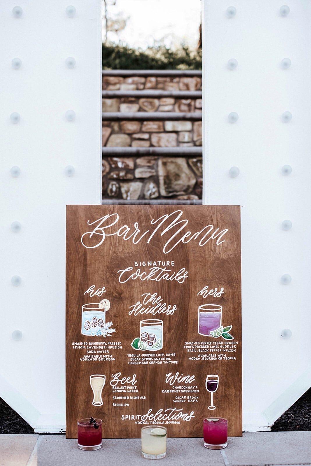 Bar Menu wood rental