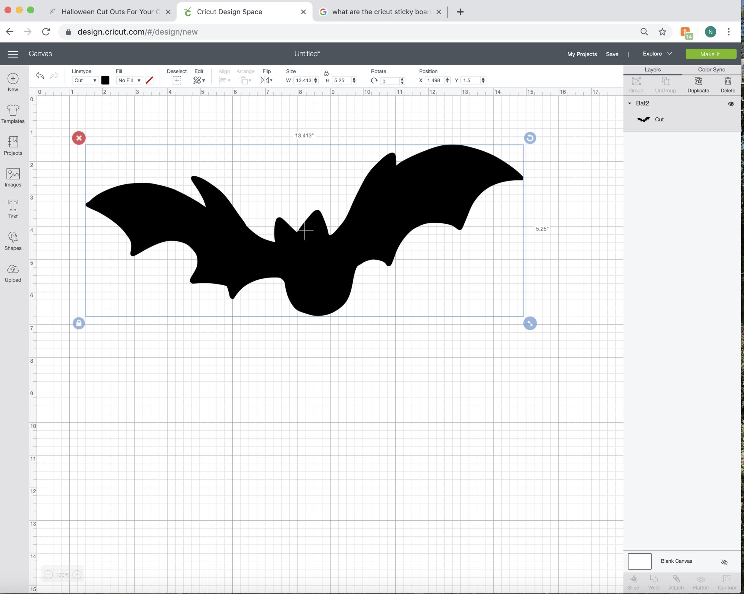 Cricut Tutorial with bats for halloween