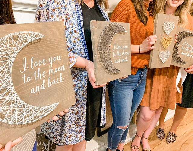 Tonight's Private Bachelorette Party Event was super fun. These gals made the cutest string art projects! 🌙🧡✨ congratulations Kayla!