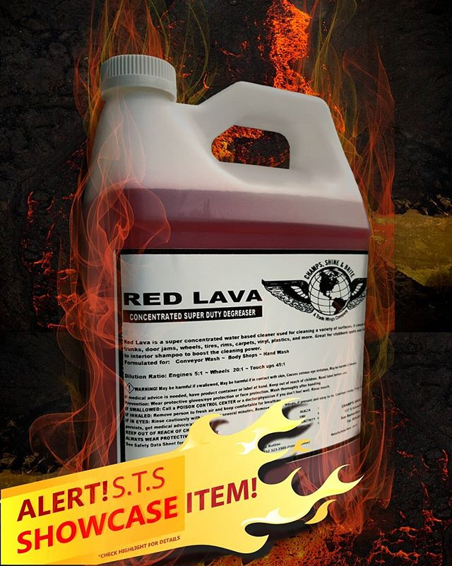 SHOWCASE WEEK ITEM 🌋RED LAVA🌋 Red lava is the pride and joy of our shop! A SUPER concentrated water-based degreaser and can used for engines, trunks, doors, rims, Wheels, carpets, vinyl, plastic, and even in your own kitchen. Diluting this product is advised!! Always Wear protective gloves when handling undiluted red lava! End date for the Showcase item will be April 1st! Check our highlight for details!  #cars #detailing #sanbernardino #towels #shop #garage #protection #meguiars #scratches #professional #carwash #carshow #cutting #redlands #csbrite #cardetailing #supplies #cleanride #detailingworld #qualitycleaning #inlandempire #waxing #buffing #polish #tire #leather #dressing #degreaser #detailersofinstagram #carwash