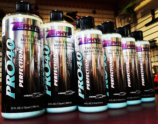 ❗Restocked Zephyr Pro-40 metal polish a wipe on -let dry- wipe off metal polish that cleans, seals, and protects stainless steel and Chrome and allows you to have that mirror shine in less than half the Time. #cars #detailing #sanbernardino #shop #garage #protection #Zephyr #meguiars #scratches #mirrorshine #professional #carwash #carshow #cutting #csbrite #cardetailing #supplies #cleanride #detailingworld #qualitycleaning #inlandempire #waxing #buffing #polish #tire #leather #dressing #degreaser #detailersofinstagram #carwash #metal