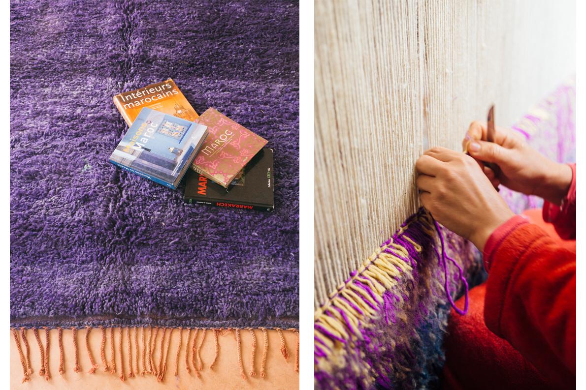 A deep purple Beni Mcguild and Moroccan artistans weaving a new carpet.