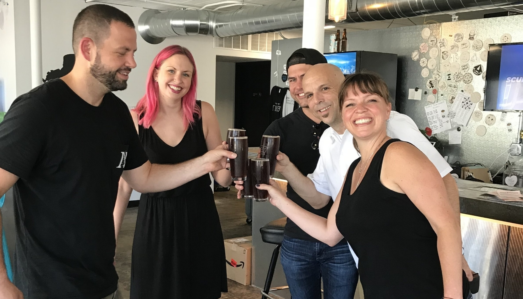 Thank you to Board member Bob Wagner of Need Pizza and Haley of Thew Brewery collaborating on the 2018 Scrappy Extra Pale Ale with proceeds benefiting the PR Foundation. First pints enjoyed by Bob, Haley, Ryan, Robert and Katie.