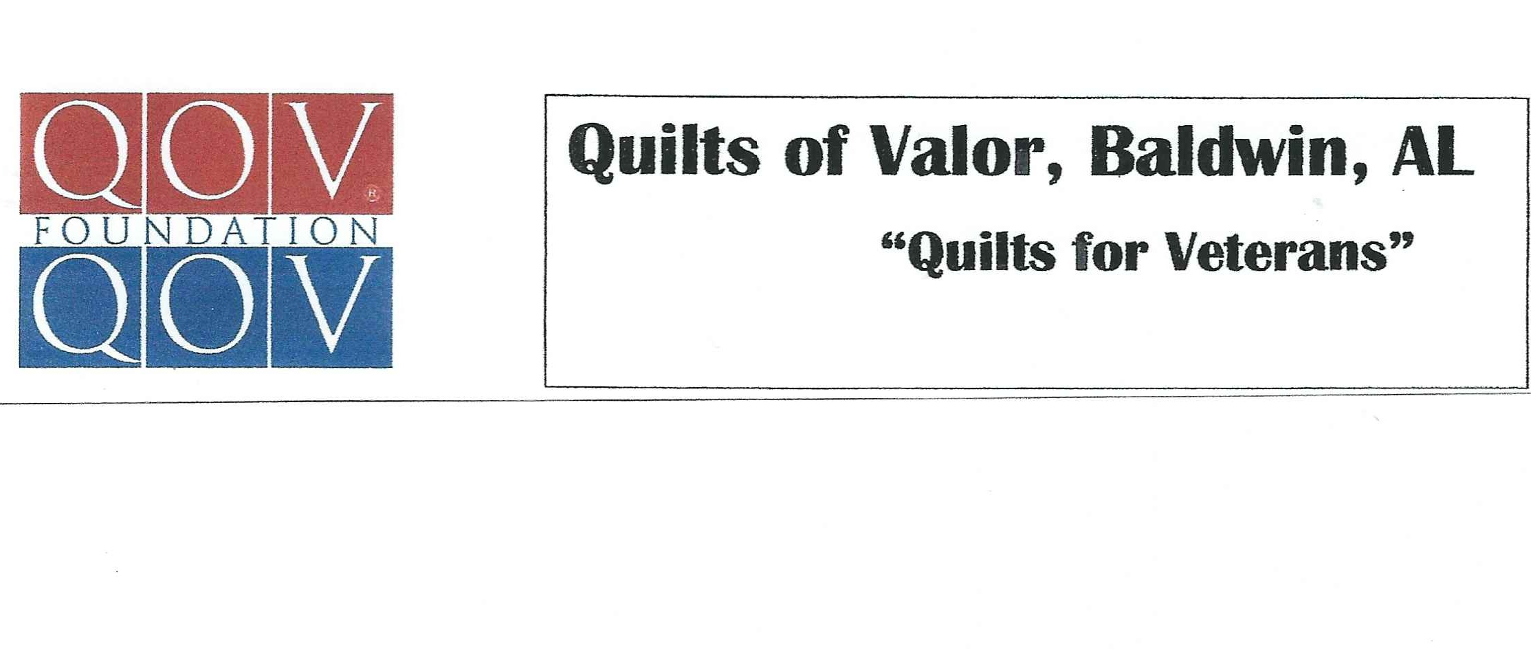 2019 PR Foundation is supporting the Quilts of Valor, Baldwin, AL benefitting veterans and service members  The mission of the Quilts of Valor is to cover service members and veterans touched by war with comforting and healing Quilts of Valor. A Quilt of Valor is a lifetime award.