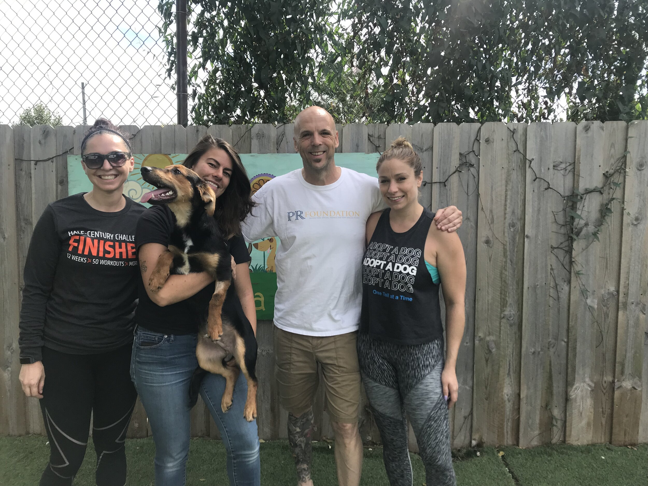 2019 PR Foundation Co founder Robert Kabakoff with the the team from One Tail at a Time No Kill Animal Shelter after the presenting them with a check from the money raised from the the Puppy Pedal and the Chicago Triathlon.
