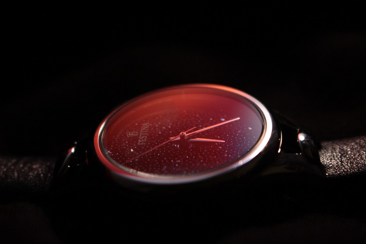 glowing pink watch face