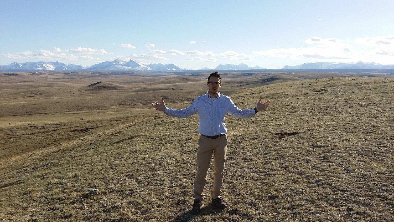 Jordan Brown mental health advocate in front of Montana mountain range