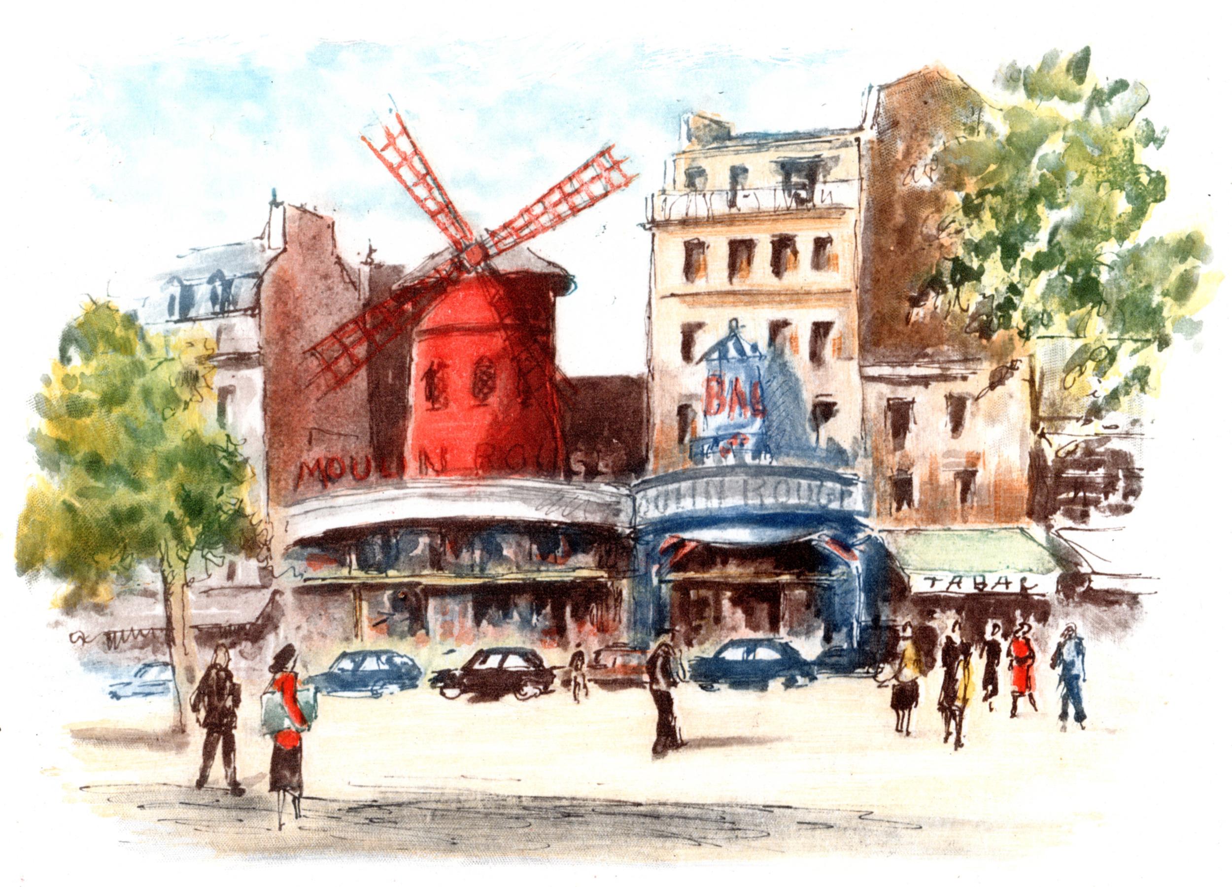 Paris, France vintage color etchings