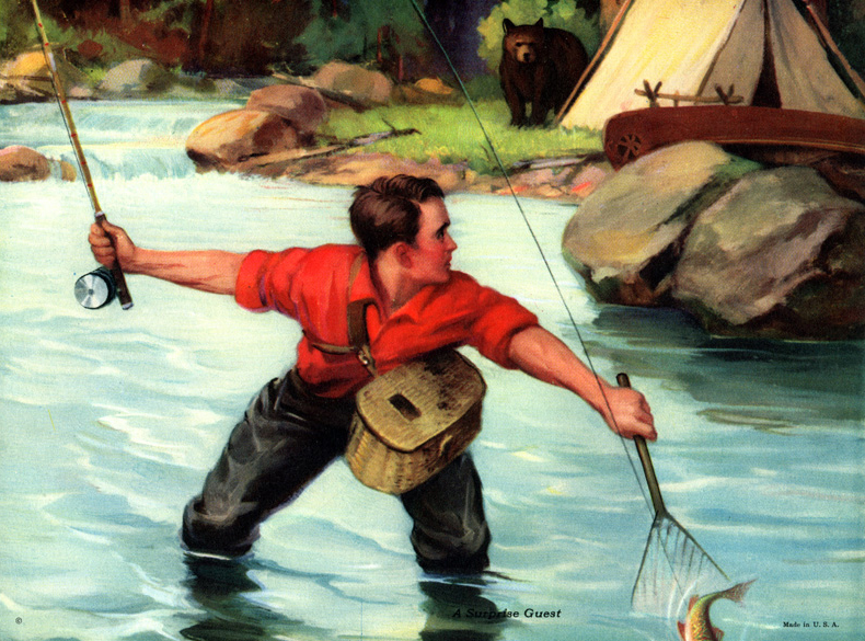 Vintage Fishing Calendar/Poster Prints from the 1910s–1940s