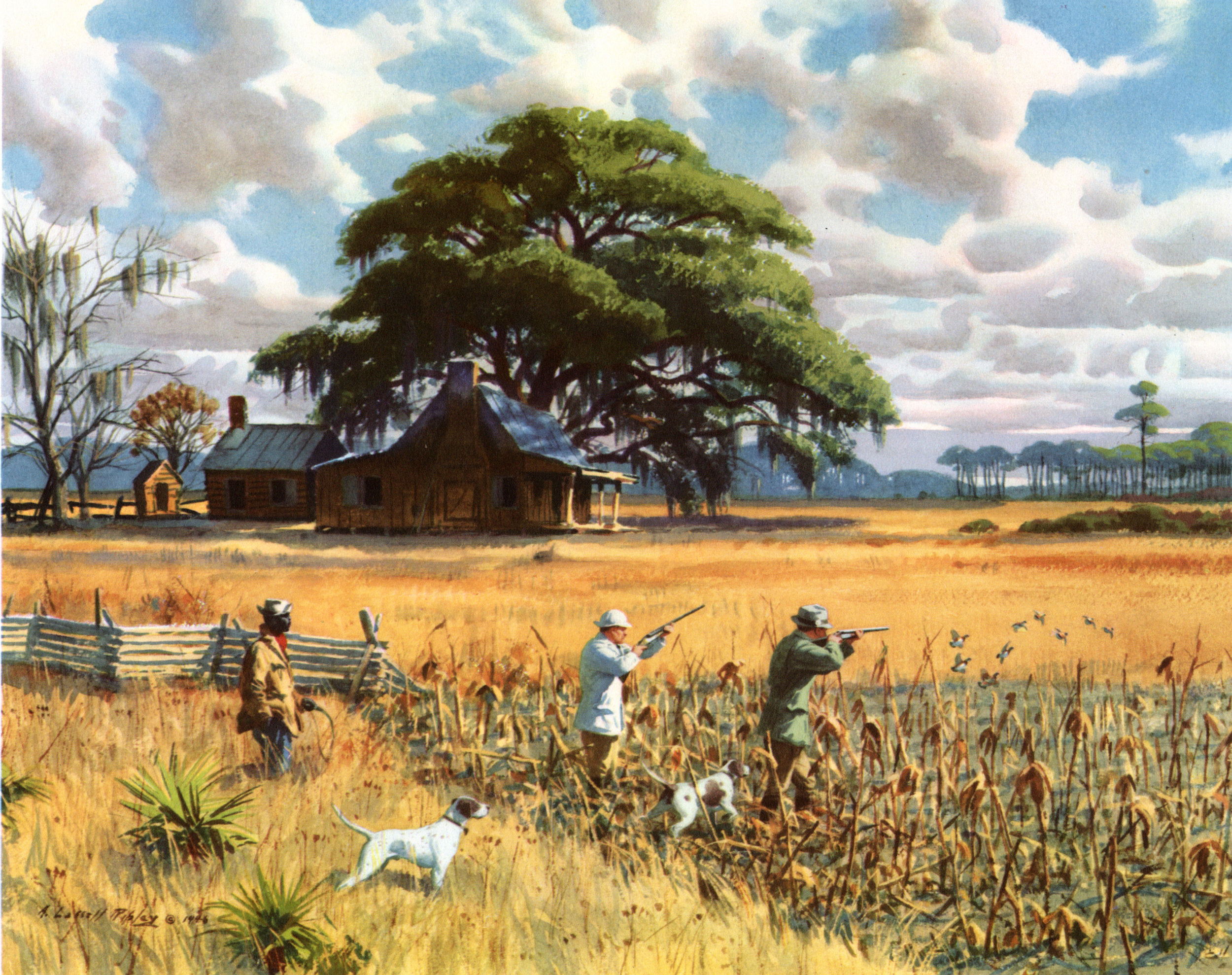 Vintage Game Bird Hunting (The Field & Stream Portfolio, Gunning in America,  A. Lassell Ripley prints, 1947)