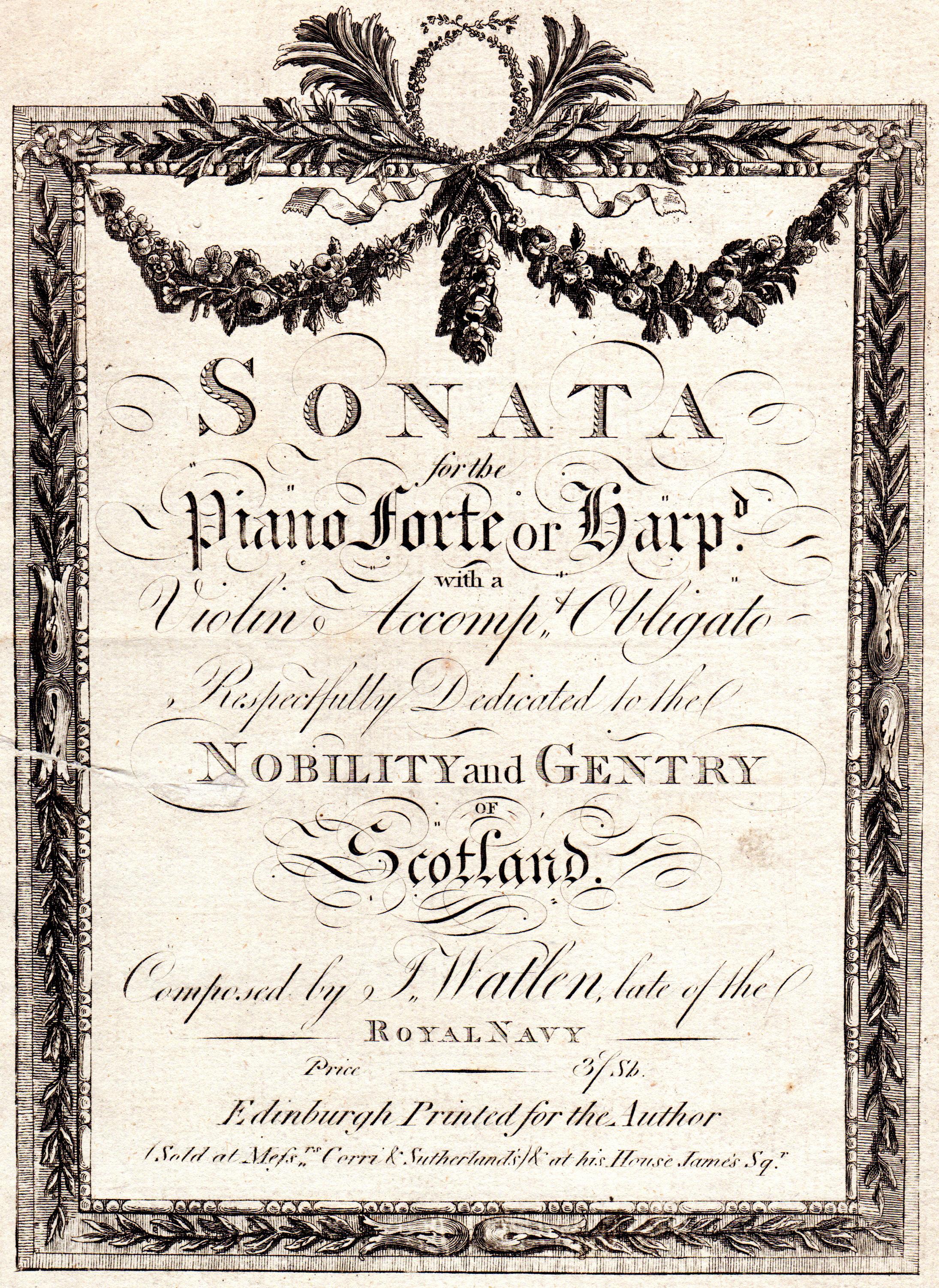 Original Antique 18th-Century Engraved Music Scores  circa 1770s to 1790s