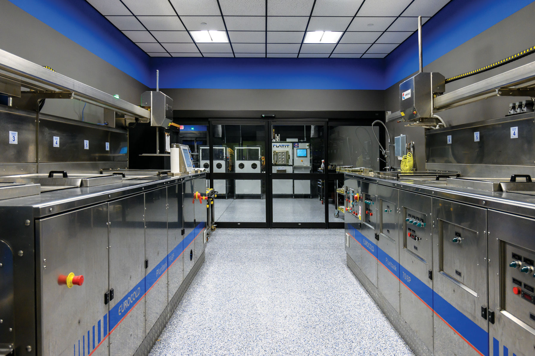 Two completely automated, state-of-the-art EUROCOLD Pluritank® cleaning systems, removes oils and contaminants from tools prior to coating.