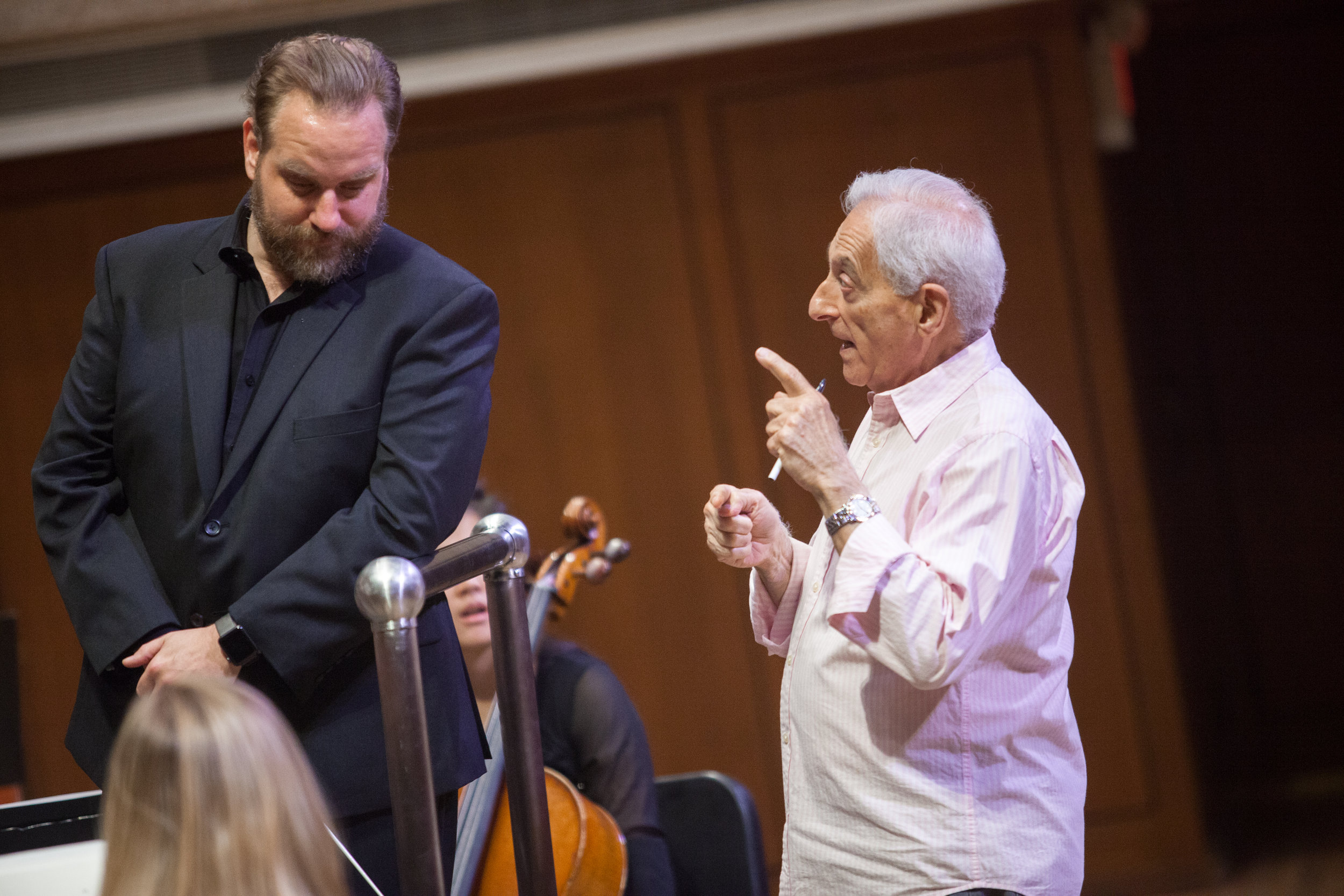 Dr. Robert DeSimone, Director of the Butler Opera Center, and Stefan Sanders, Music Director and Conductor of the Round Rock Symphony, collaborating on the inagural concert.