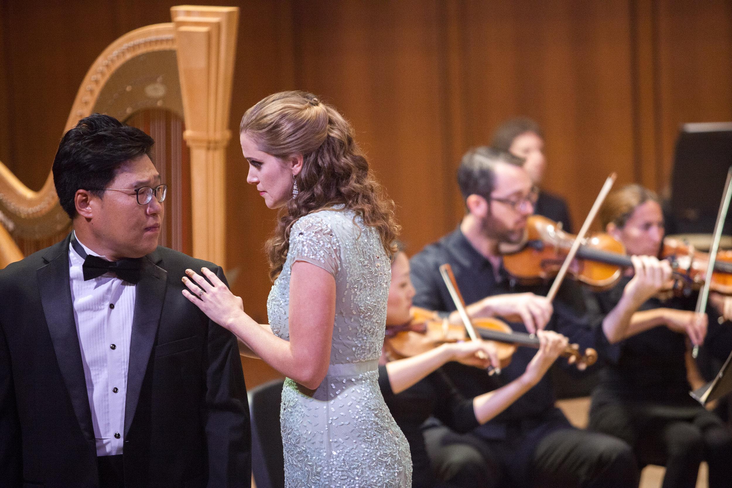 Julia Tyler, soprano, and Soonchan Kwon, tenor, singing a duet.