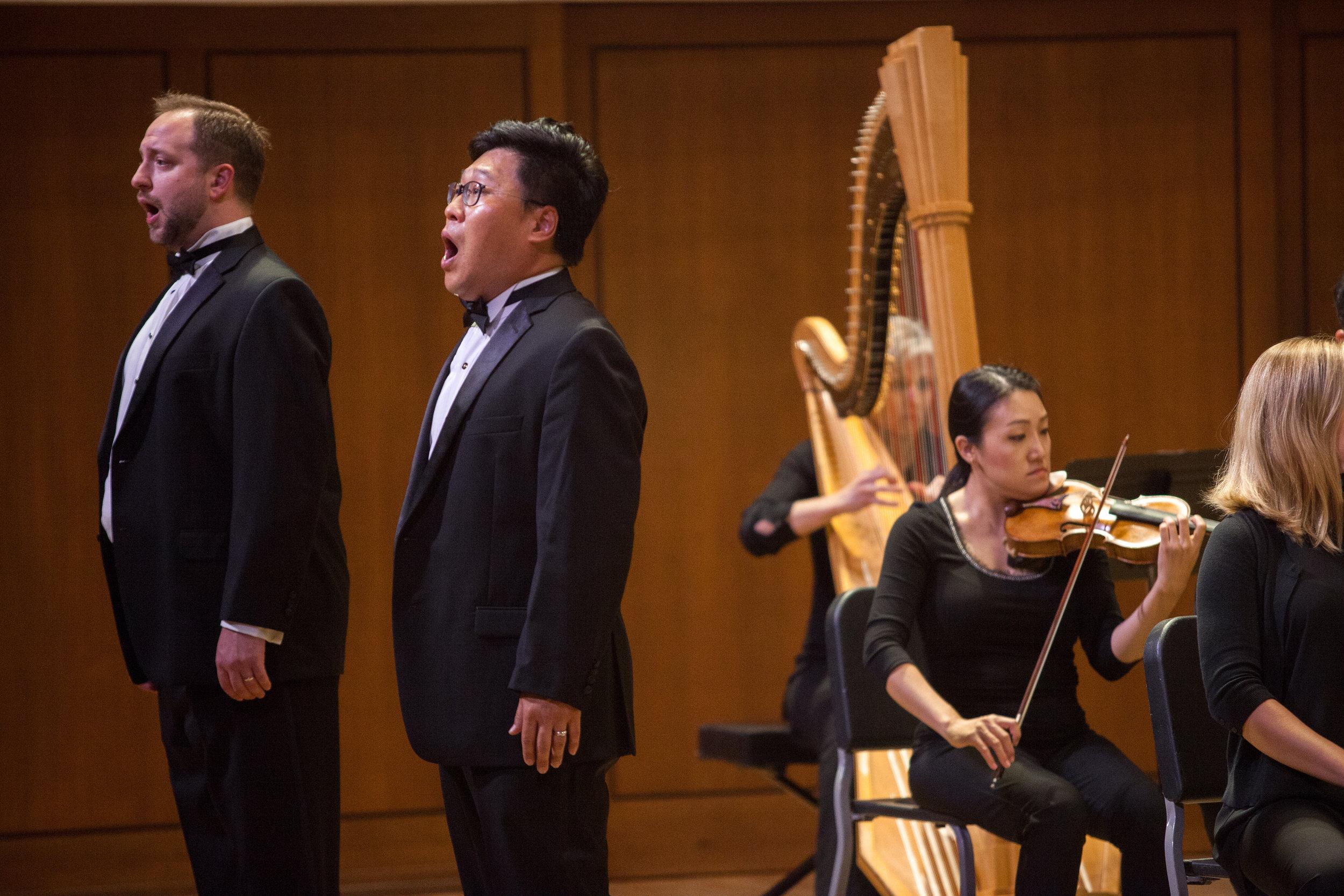 Soonchan Kwon, tenor, and Benjamin Cox, performing a duet.