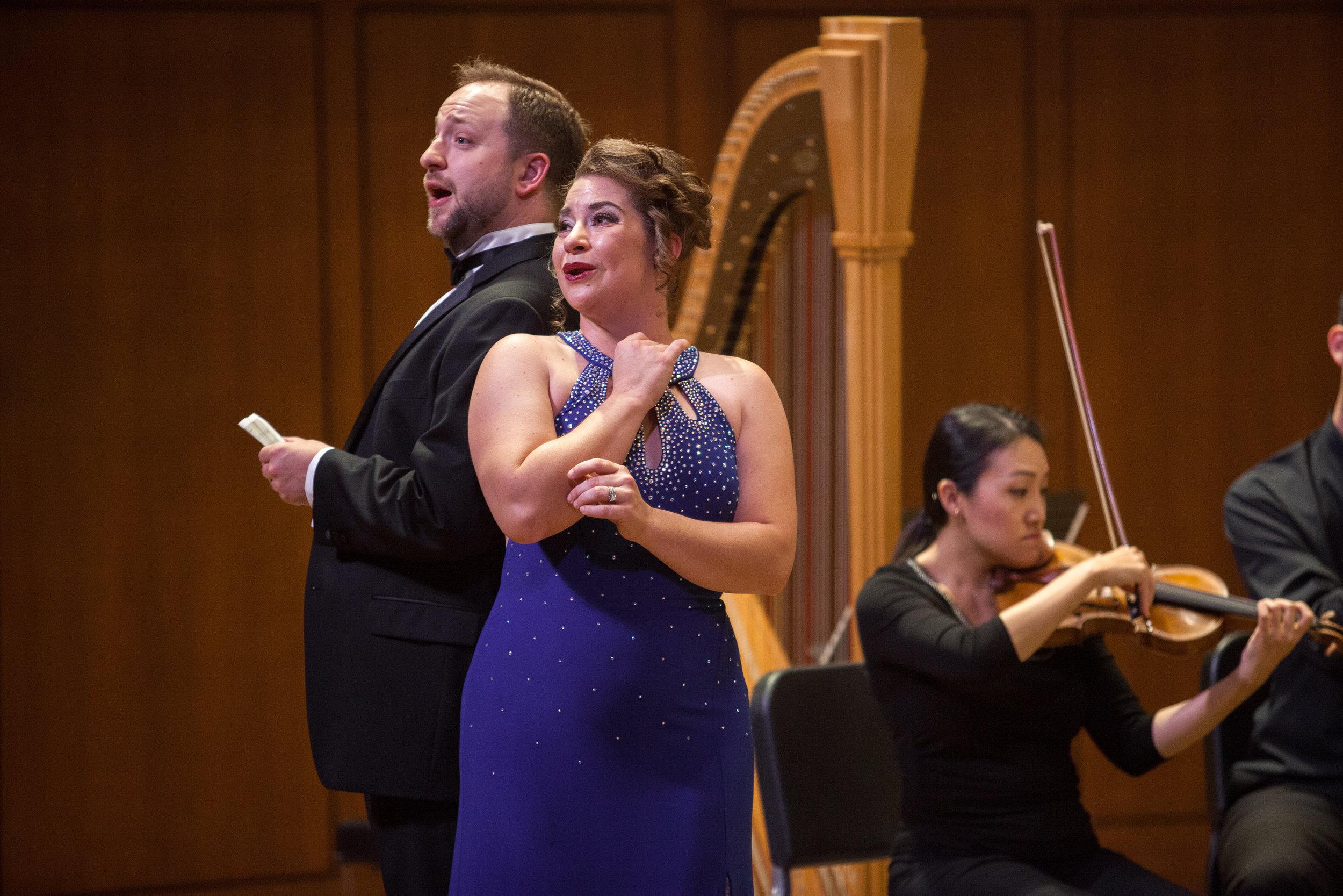 Ellie Jarrett-Shattles, mezzo-soprano, and Benjamin Cox, baritone performing a duet.