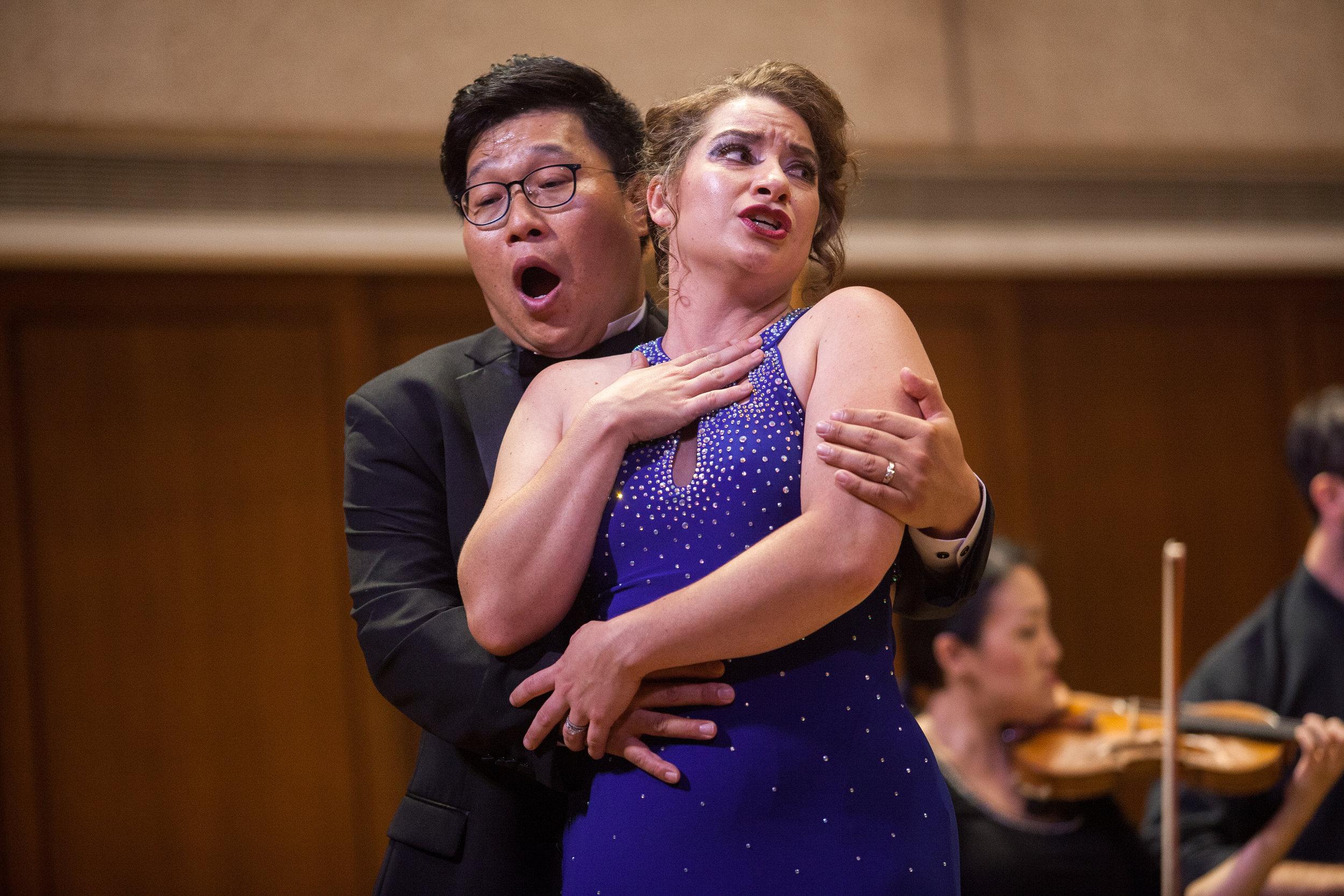 Soonchan Kwon, tenor, and Ellie Jarrett-Shattles, mezzo-soprano, singing with the Round Rock Symphony.