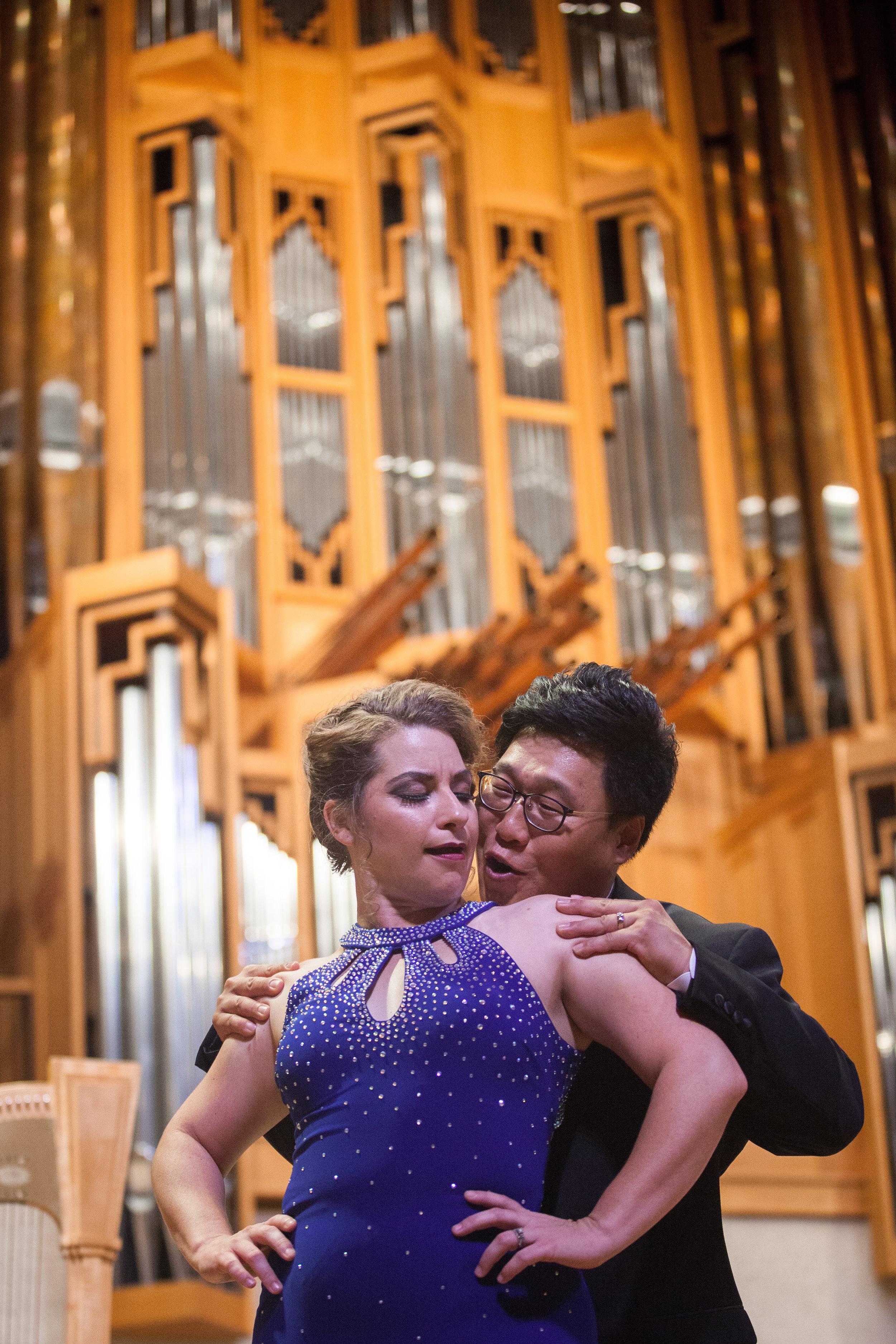 Soonchan Kwon, tenor, and Ellie Jarrett-Shattles, mezzo-soprano, singing a duet.