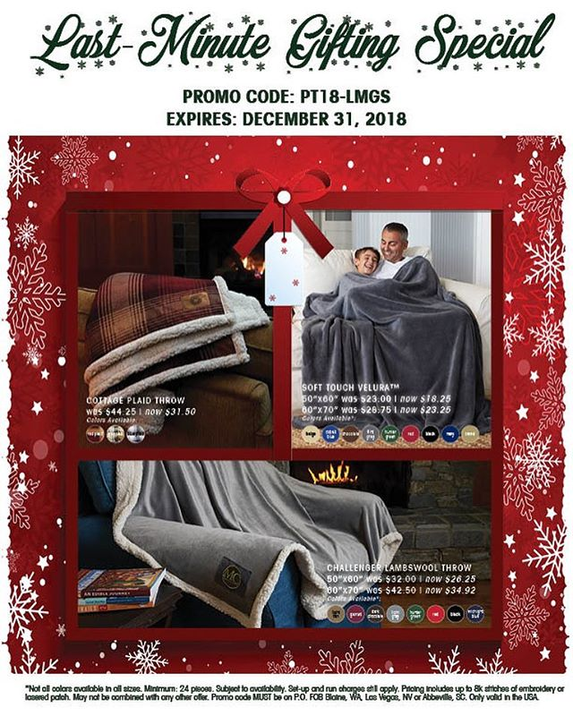 Tick-tock tick-tock. Time is winding down for those holiday gifts. Here are some last minute gifting ideas from @whyprotowels and @kanatablanketcompany to help you finish off those last minute projects! #promo #holidaypromo #blanket #blanketpromo #promotional #protowels #kanatablanket #julesscheckassociates