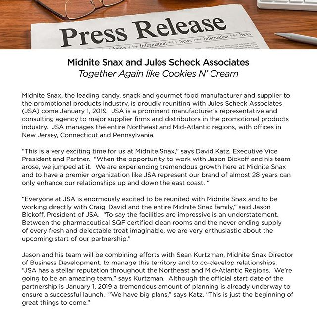 We are beyond excited to announce that beginning on January 1st, 2019 JSA and MidNite Snax @midnite_snax will be reuniting. As the press release says we are together again like Cookies N' Cream! #MidniteSnax #promoindustry #promotional #promo