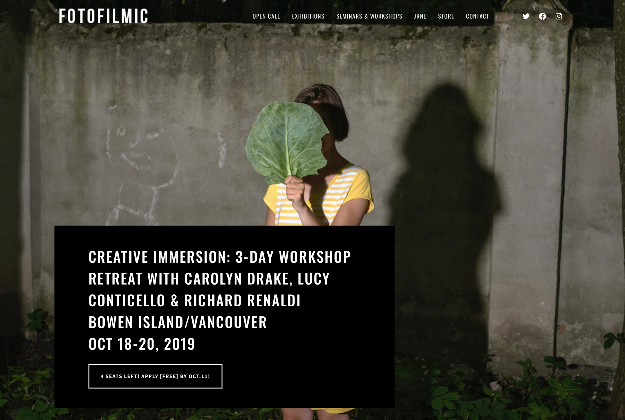 Upcoming Workshop – Bowen Island - Oct 18-20 Ill be leading a workshop on Bowen Island/Vancouver along with Richard Renaldi and Lucy Conticello, organized by Fotofilmic