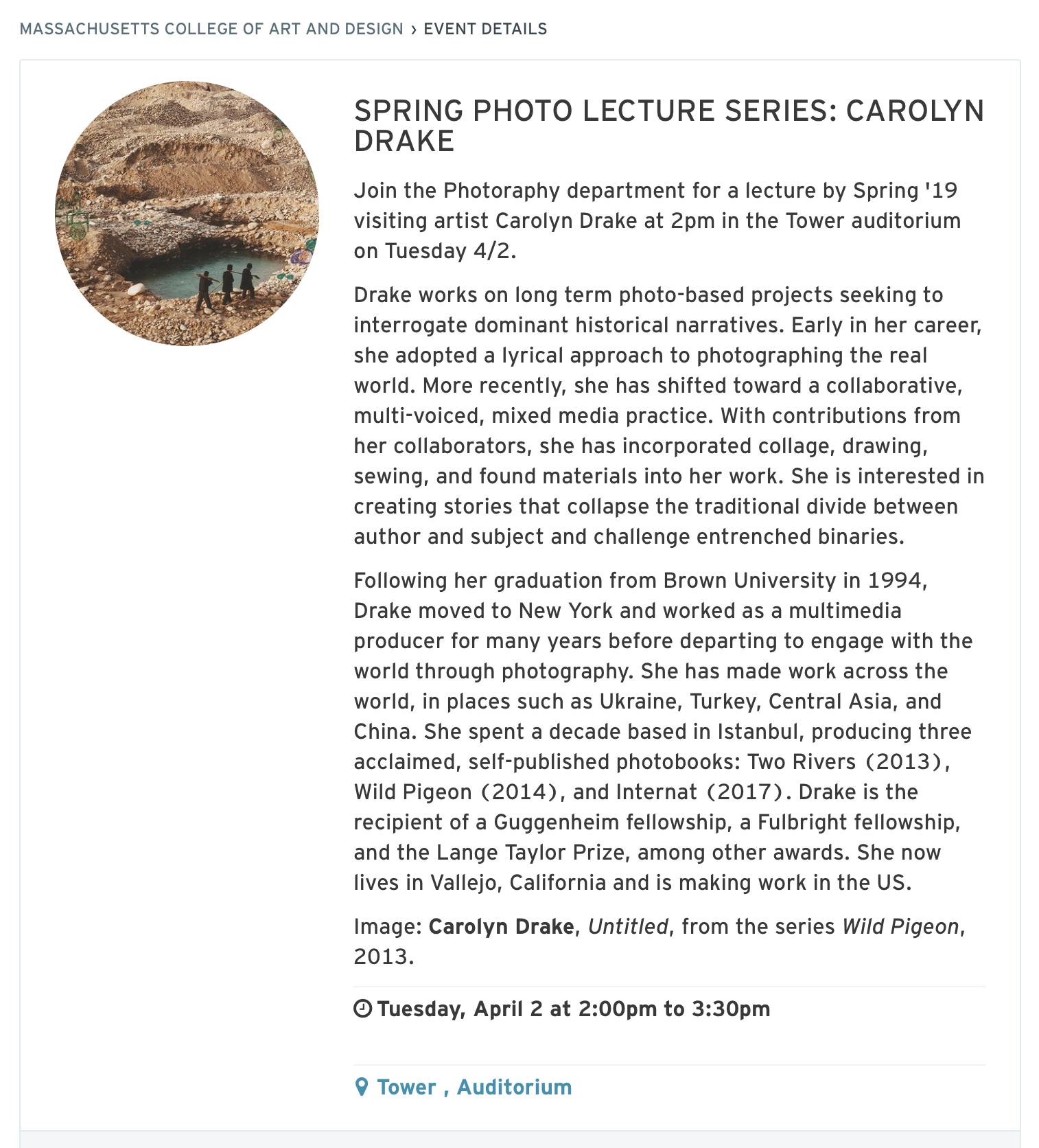 MassArt Lecture  - Giving a public lecture at Massachusetts College of Art and Design on April 2, 2019