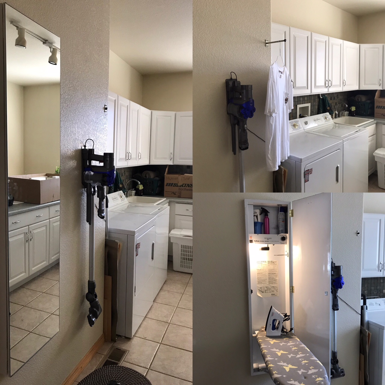 Marjean has an ironing station and hanging rod hiding in her laundry room.