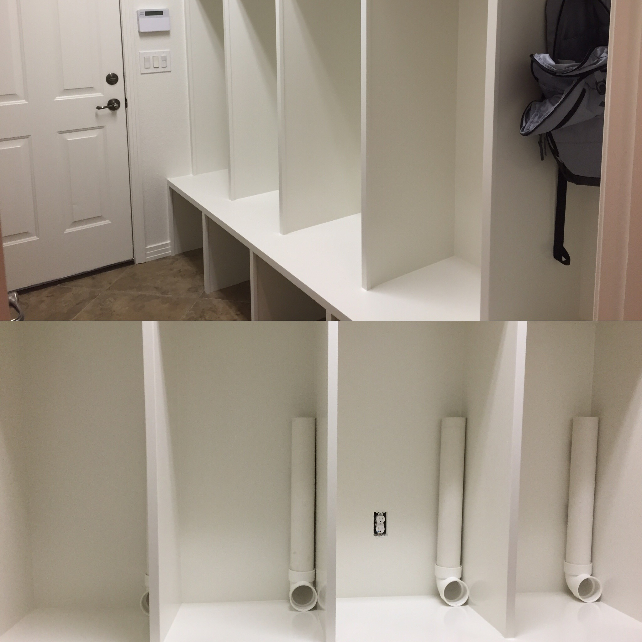 Whitney installed sock dispensers (made from PVC pipes)in her mudroom for each of the kids, so they're ready to grab and go. The kids all have their own brand of socks, so sorting is easy.