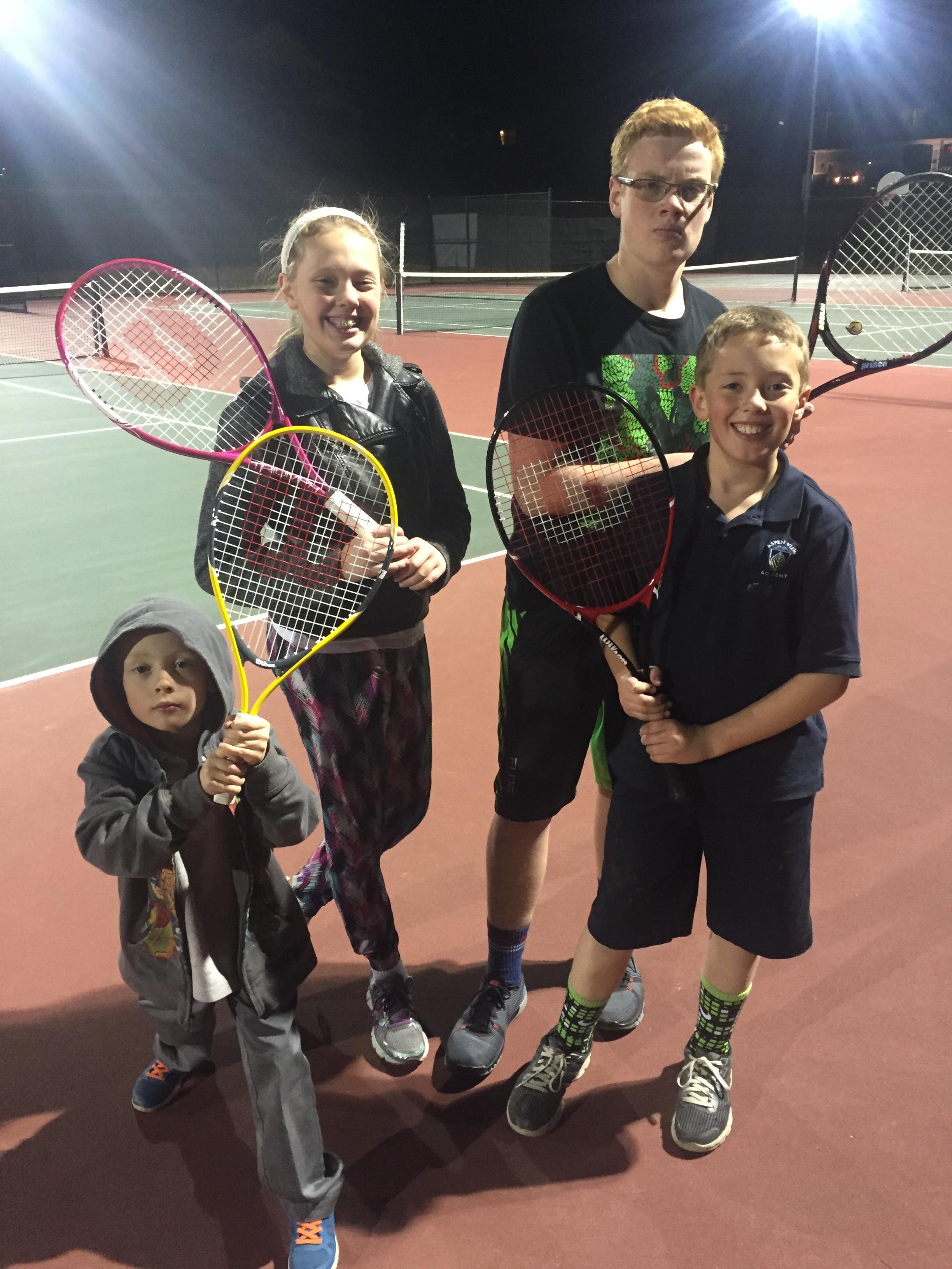 Family tennis tournament.